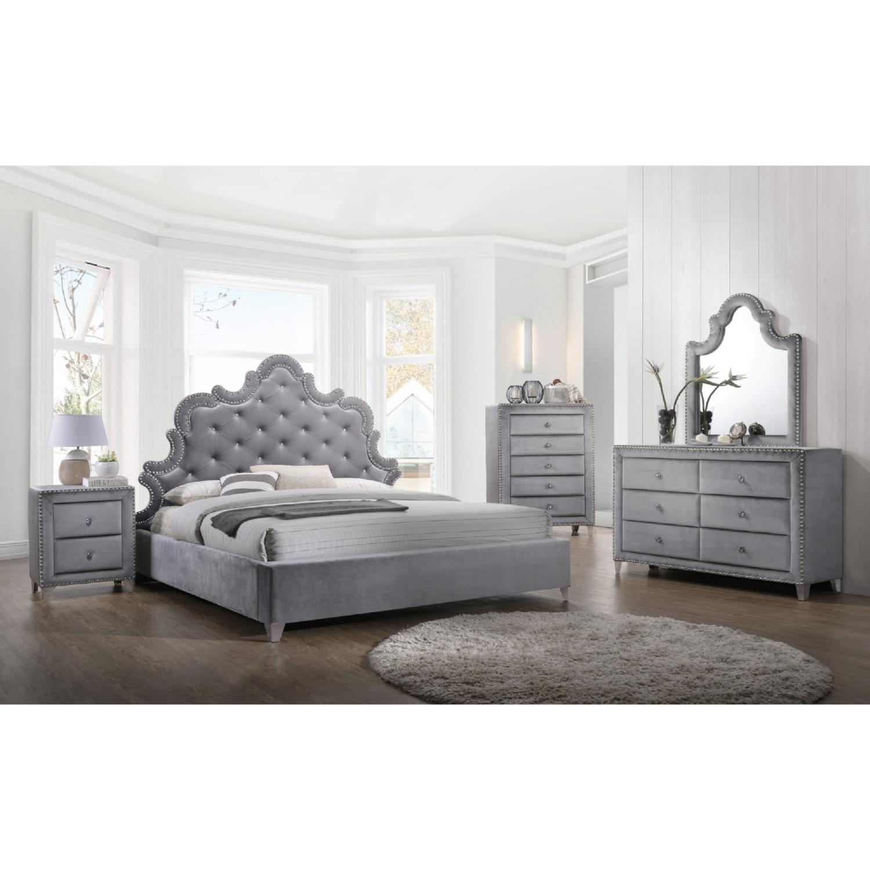 Meridian Furniture Sophie M Sophie Grey Velvet Mirror w Silver