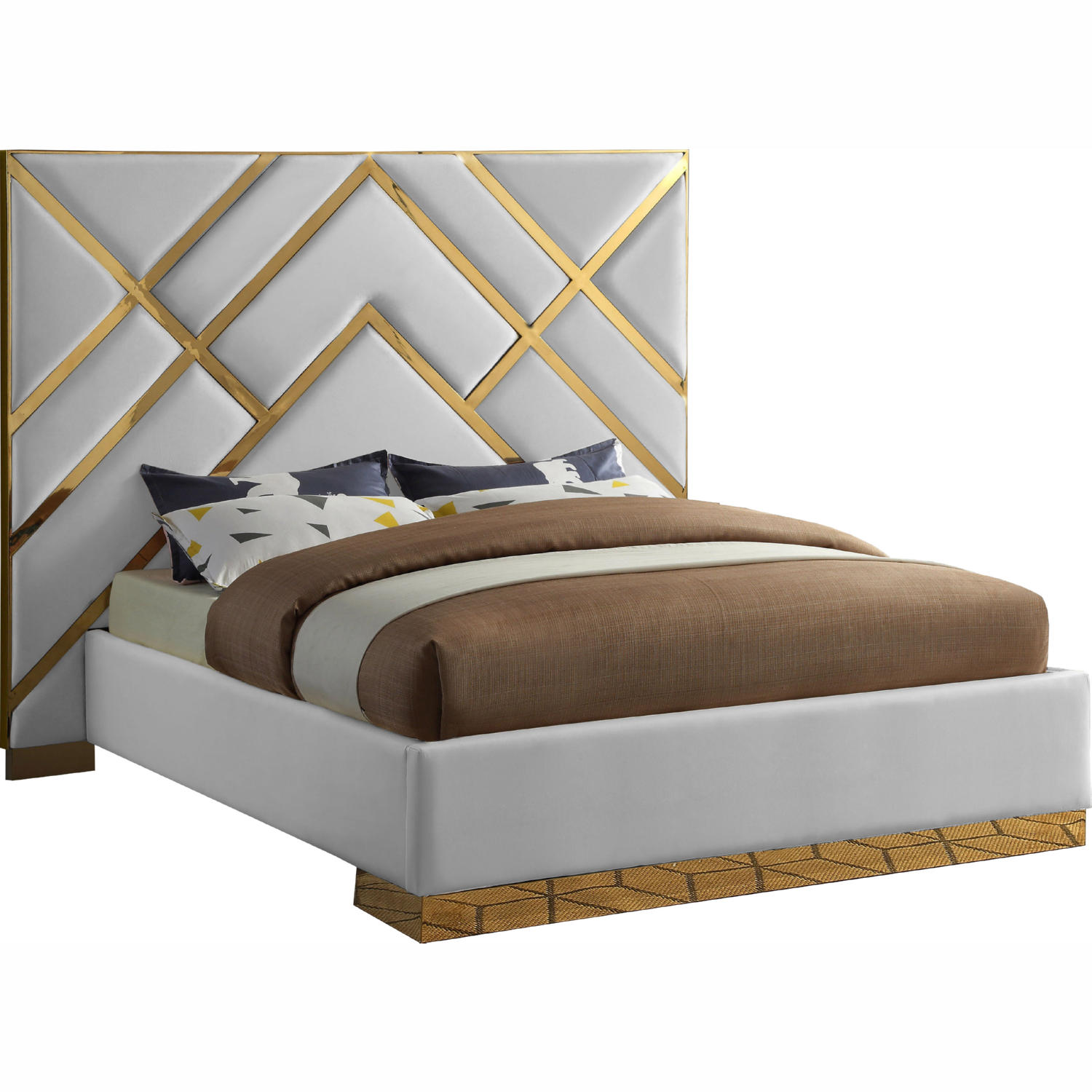 Meridian Vectorwhite Q Vector Queen Bed In White Leatherette Geometric Gold Metal