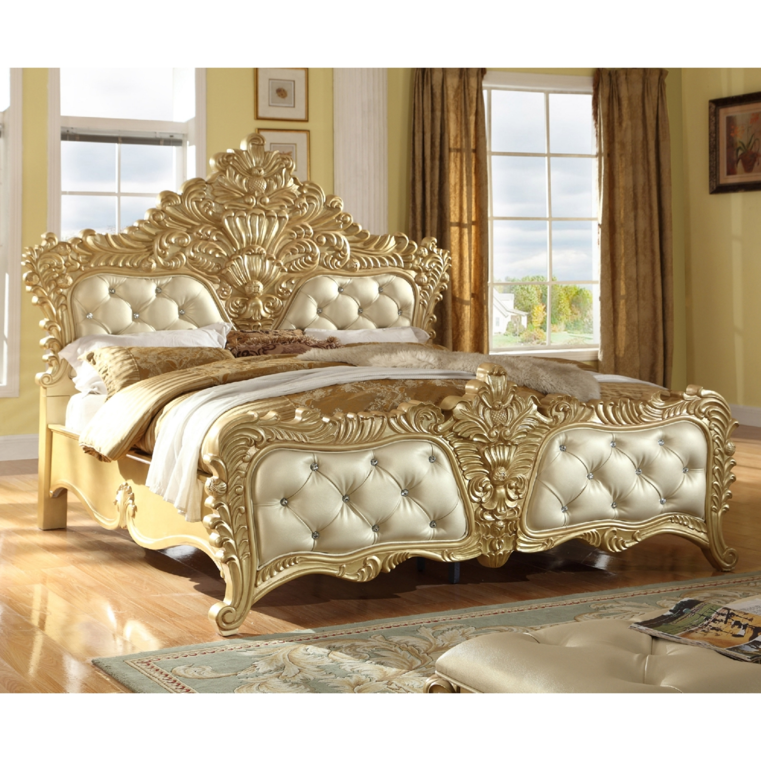 Meridian Furniture Zelda K Zelda King Bed In Ornate Rich Gold Silver W Crystal Tufted