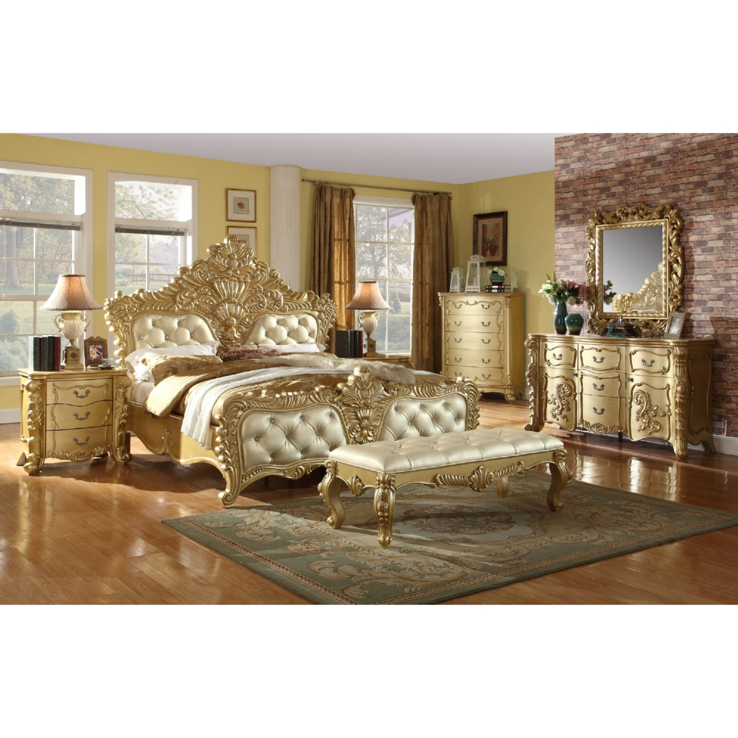 Meridian Furniture Zelda Night Stand In Ornate Rich Gold Finish W/ Silver  Accents (Set Of 2)