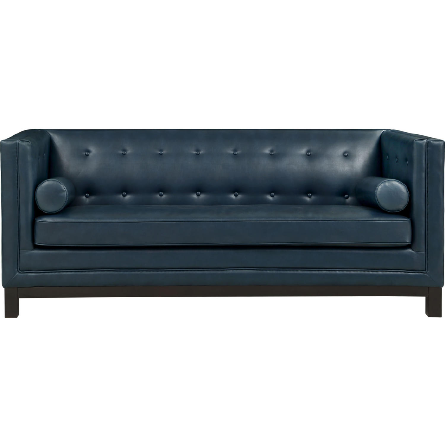Imperial Sofa In Blue Tufted Leather W Pillows By Modway
