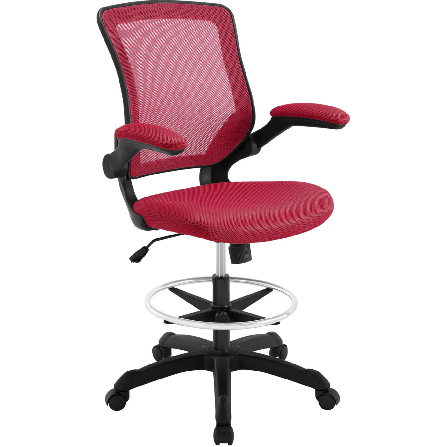 Modway Eei 1423 Red Veer Drafting Stool In Red Leatherette