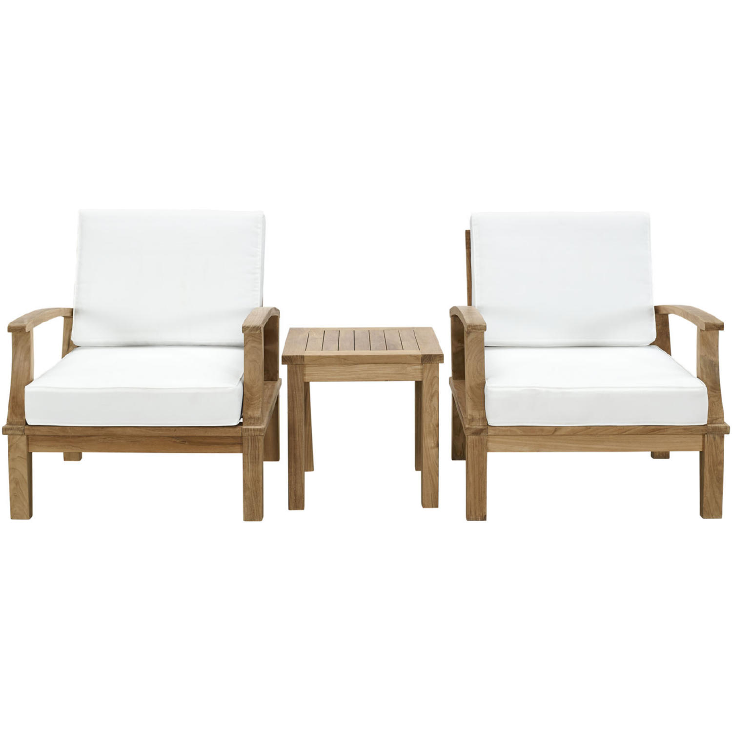 Admirable Marina 3 Pc Outdoor Patio Teak Sofa Set W White Cushions By Modway Download Free Architecture Designs Sospemadebymaigaardcom