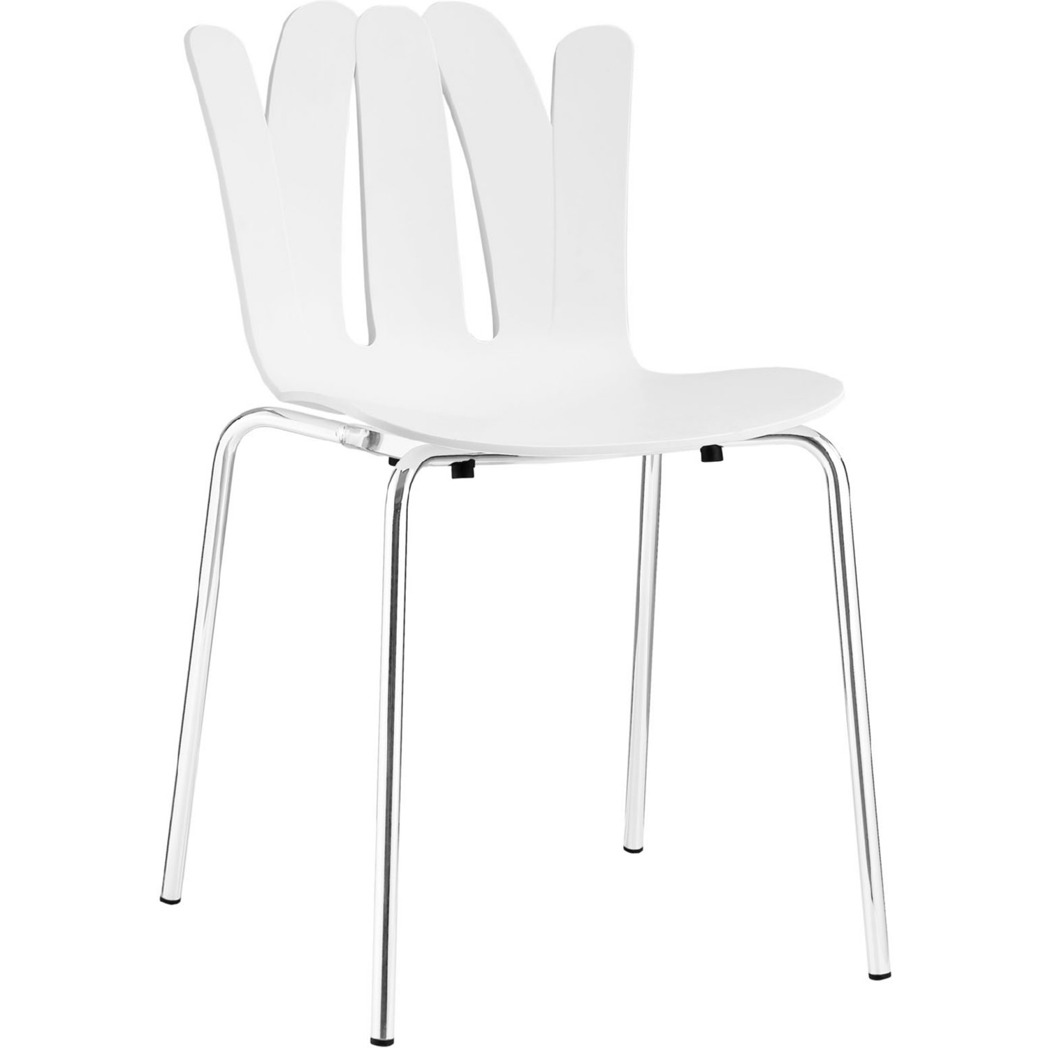 Modway EEI 1496 WHI Flare Dining Chair In White Molded Seat U0026 Open Pattern  Back On Chrome Legs