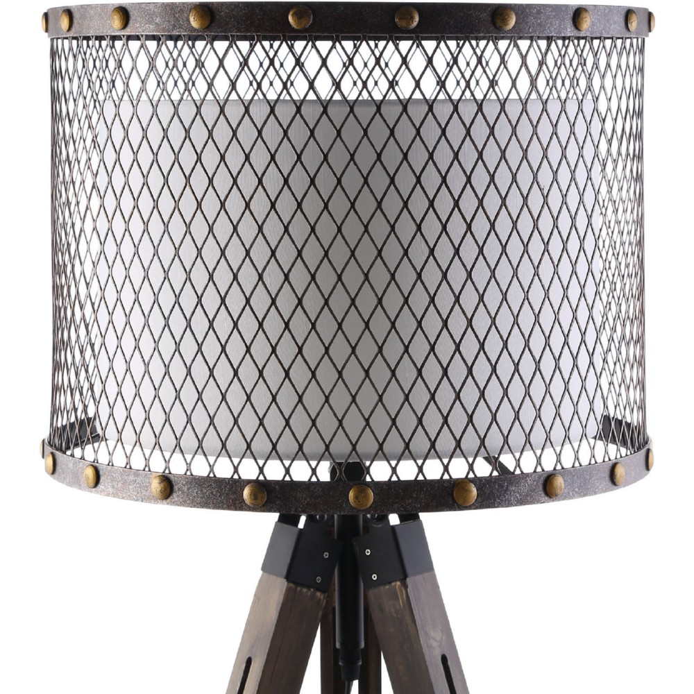 Nice Modway Fortune Floor Lamp W/ Fabric Drum Shade In Steel Mesh On Wood Tripod
