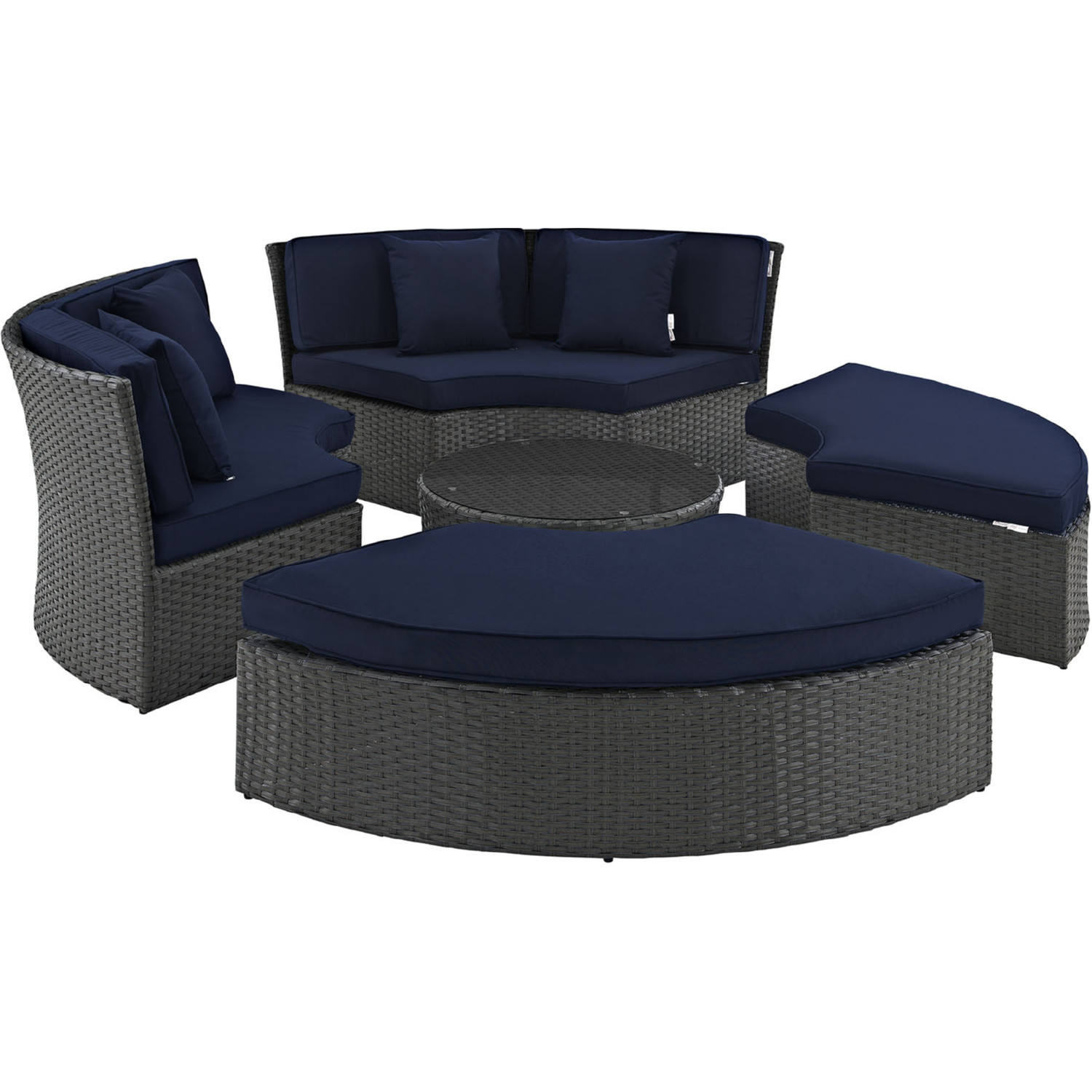 Modway EEI-1984-CHC-NAV-SET Sojourn Outdoor Patio Daybed in Poly ...