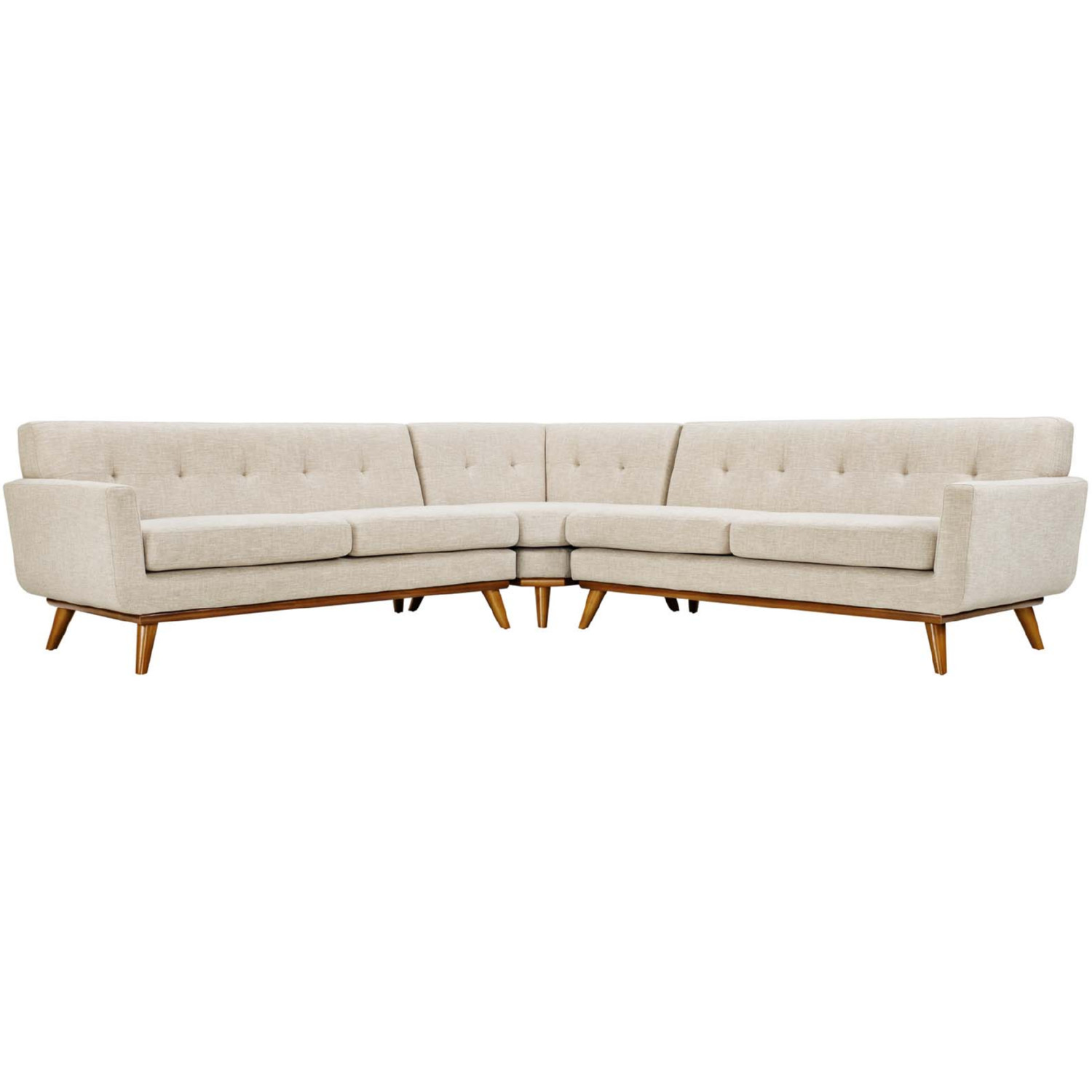 Engage L Shaped Sectional Sofa In Tufted Beige Fabric By Modway