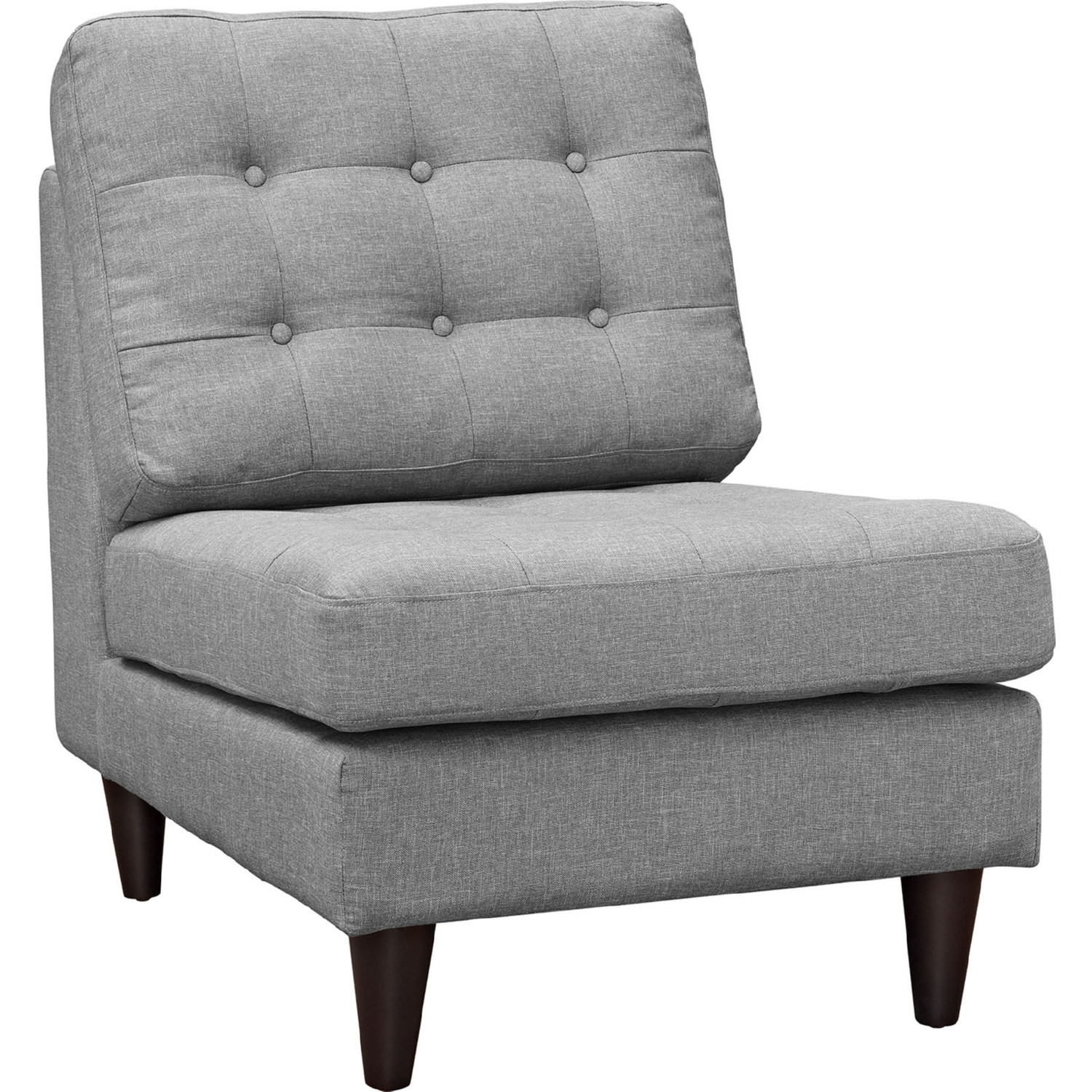 Remarkable Empress Accent Chair In Tufted Light Gray On Black Wood Legs By Modway Bralicious Painted Fabric Chair Ideas Braliciousco