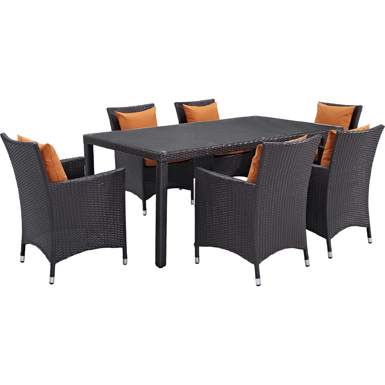 Convene 7 Piece Outdoor Patio Dining Set In Espresso W Orange Cushions By Modway