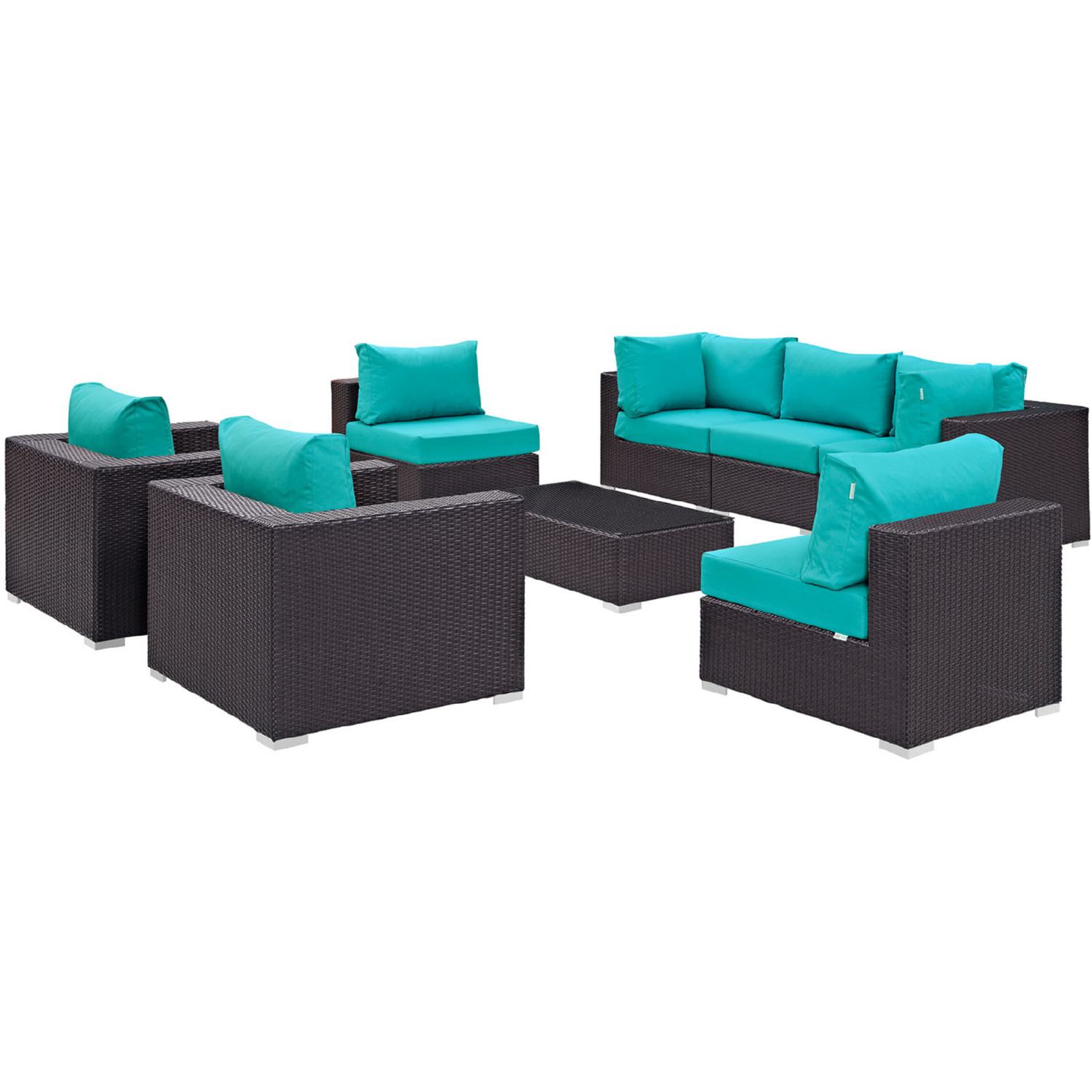 Modway EEI 2203 EXP TRQ SET on Outdoor Patio Sectional Set Espresso Turquoise By Modway Furniture