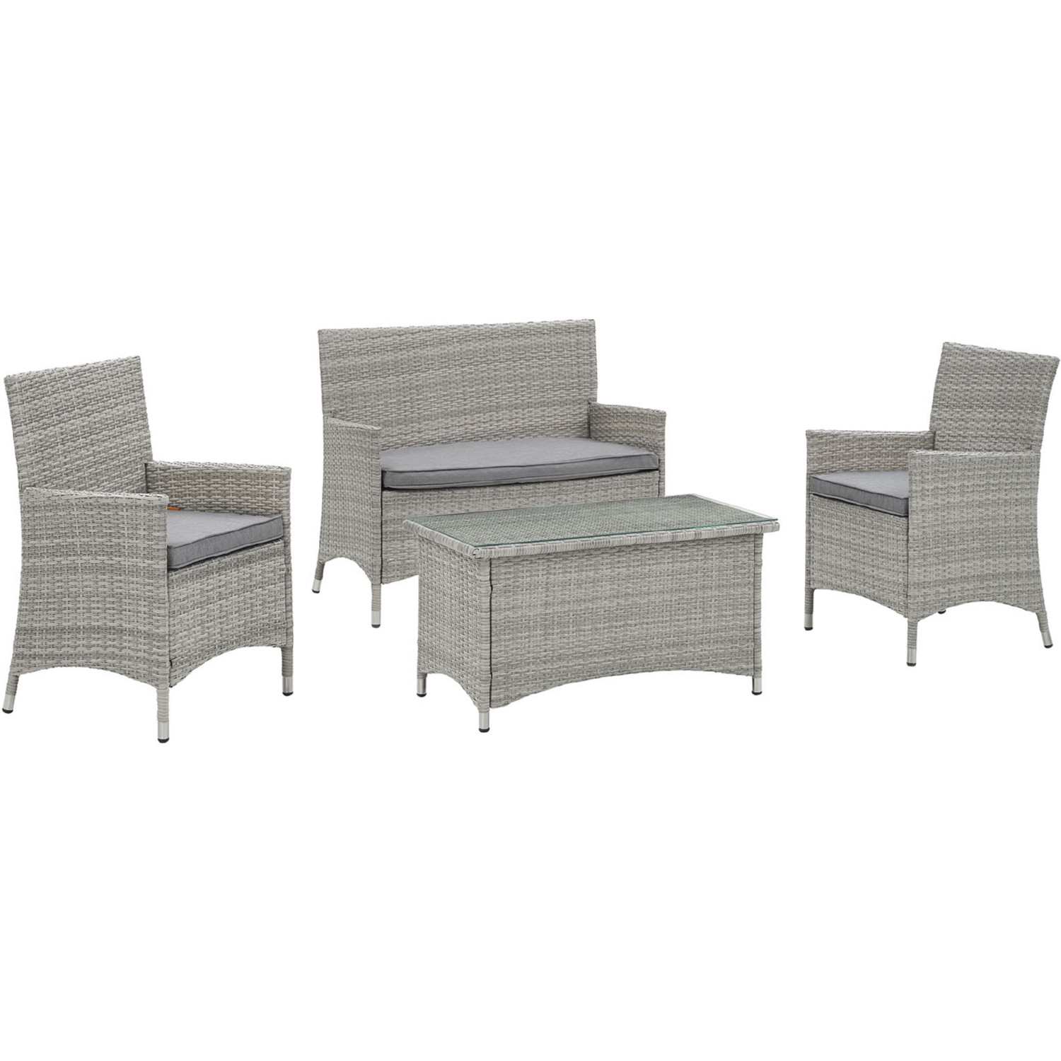 Super Bridge Outdoor Patio Loveseat Arm Chair Set In Light Gray W Gray W Cushions By Modway Theyellowbook Wood Chair Design Ideas Theyellowbookinfo