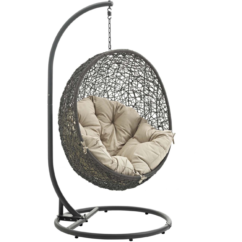 Modway Eei 2273 Gry Bei Hide Outdoor Patio Swing Chair In