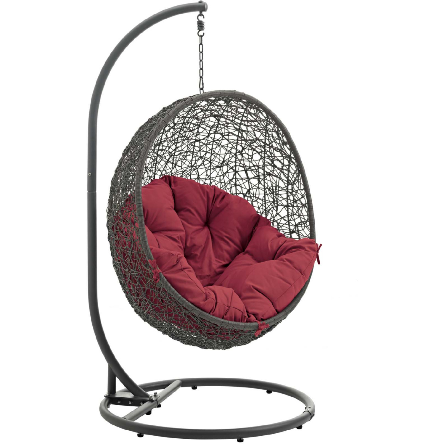 Modway Eei 2273 Gry Red Hide Outdoor Patio Swing Chair In