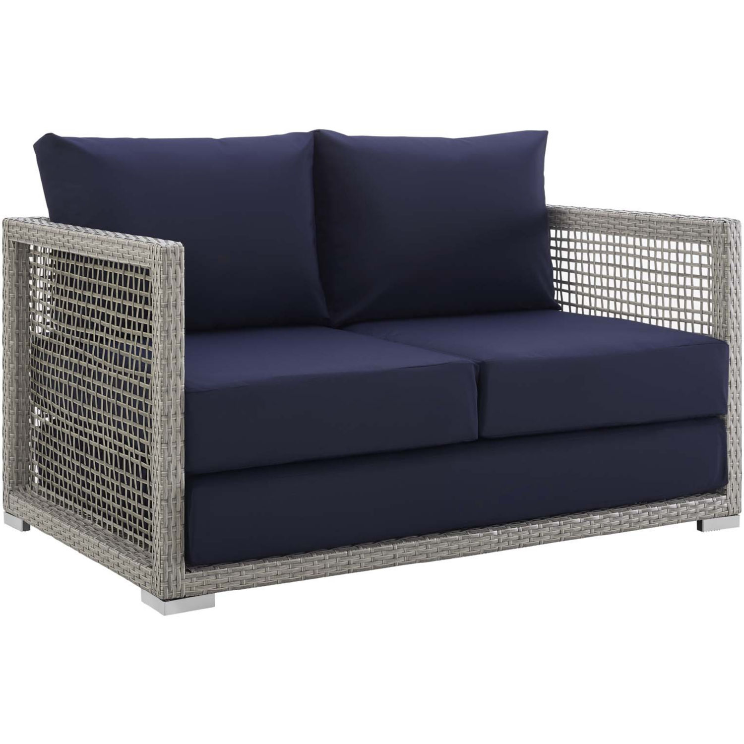 Peachy Aura Outdoor Gray Wicker Rattan Loveseat W Navy Fabric By Modway Pdpeps Interior Chair Design Pdpepsorg
