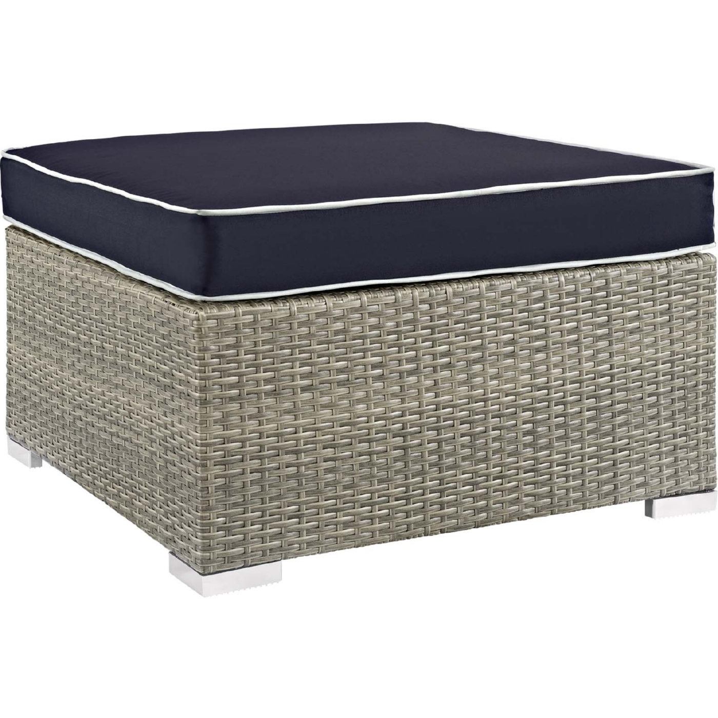Amazing Repose Outdoor Ottoman In Poly Rattan Navy Fabric By Modway Machost Co Dining Chair Design Ideas Machostcouk
