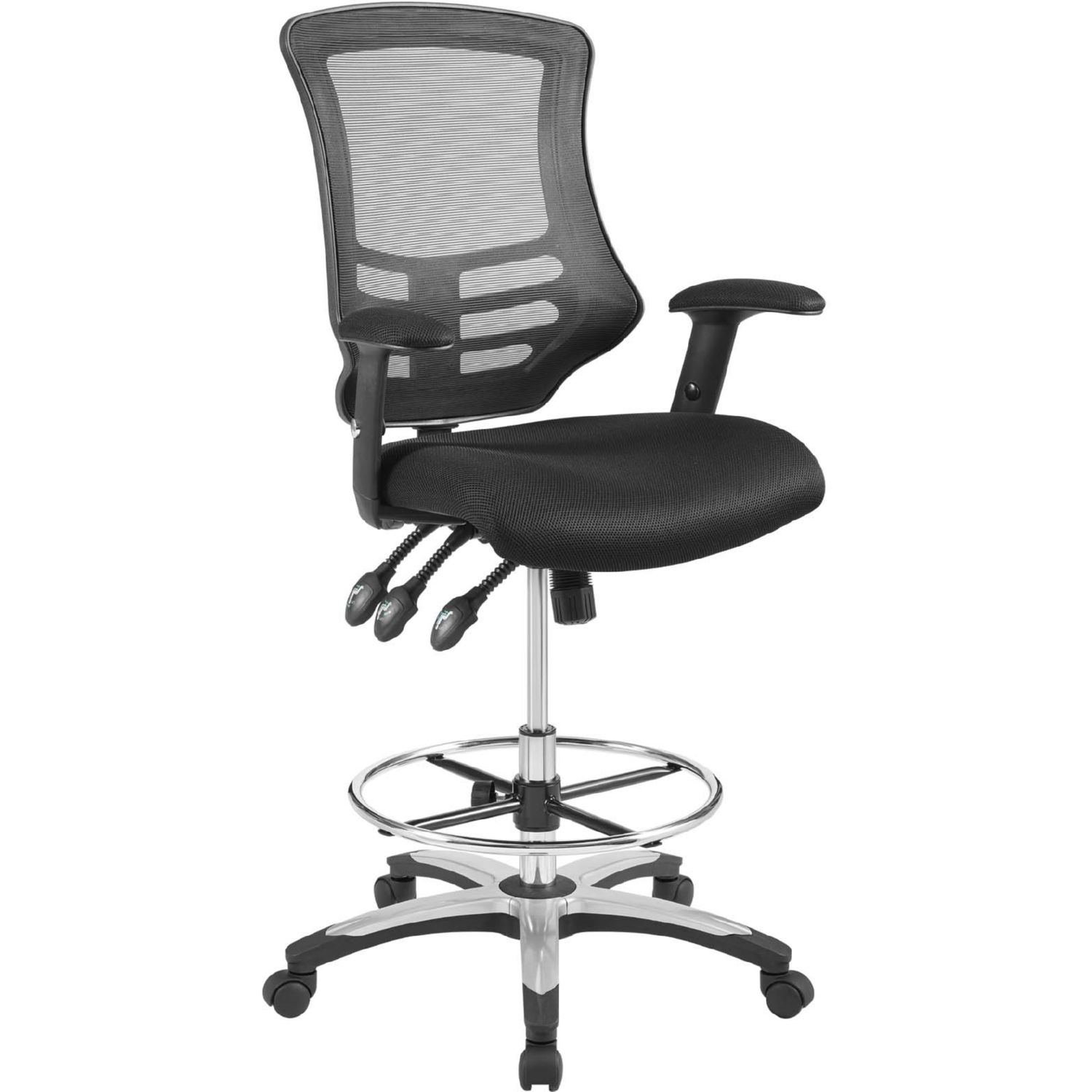 Calibrate Drafting Chair in Black Mesh Fabric by Modway