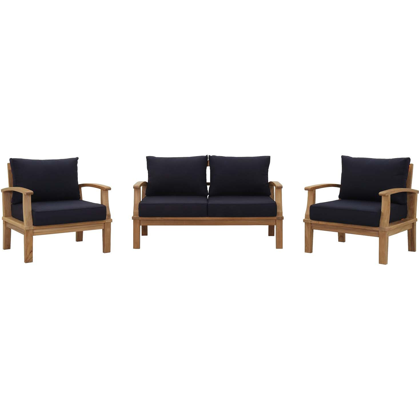 Marina 3 Piece Outdoor Sofa Set in Teak & Navy Blue Fabric by Modway