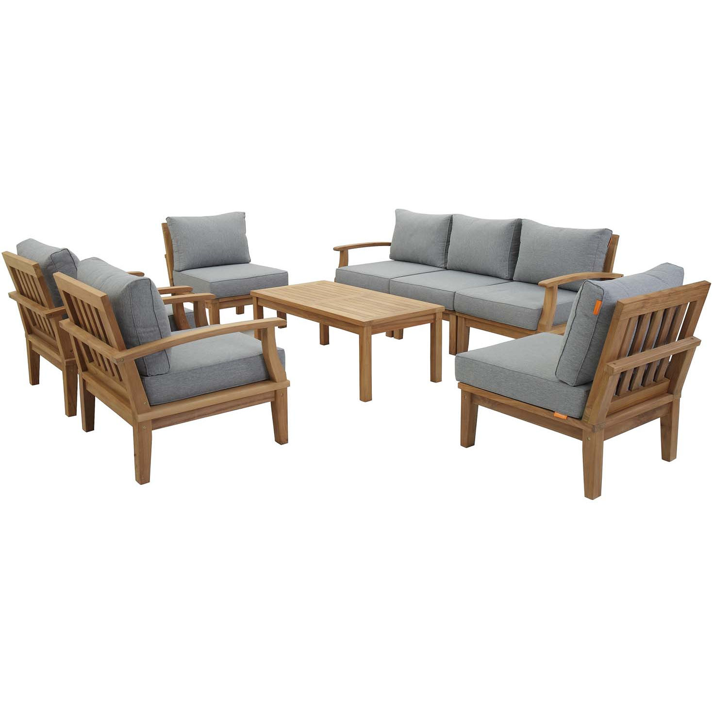 Miraculous Marina 8 Piece Outdoor Modular Sectional Sofa Set In Teak Gray Fabric By Modway Customarchery Wood Chair Design Ideas Customarcherynet