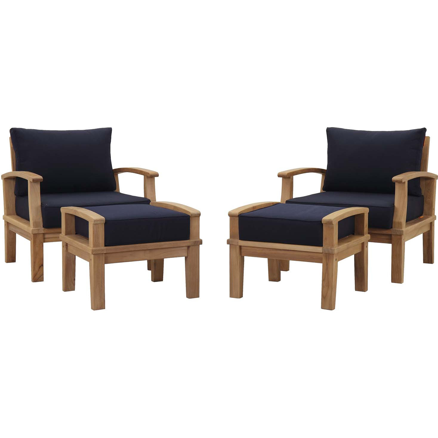 Fantastic Marina 4 Piece Outdoor Arm Chair Set In Teak Navy Blue Fabric By Modway Pdpeps Interior Chair Design Pdpepsorg