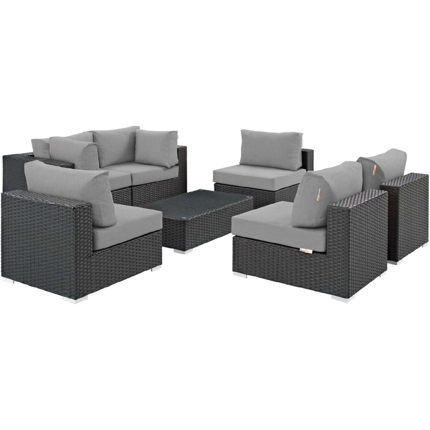 Modway EEI-1883-CHC-GRY-SET Sojourn 7 Piece Outdoor ...