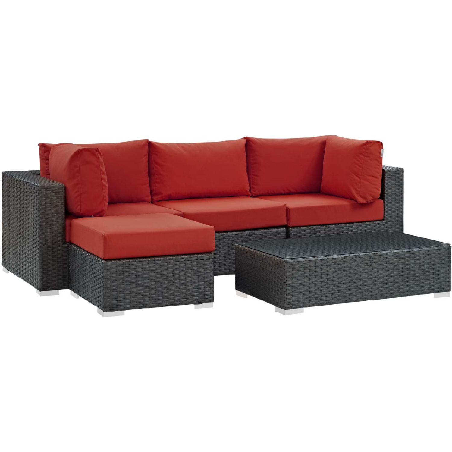 Sojourn 5 Piece Outdoor Sectional Sofa Set w/ Red Sunbrella® by Modway