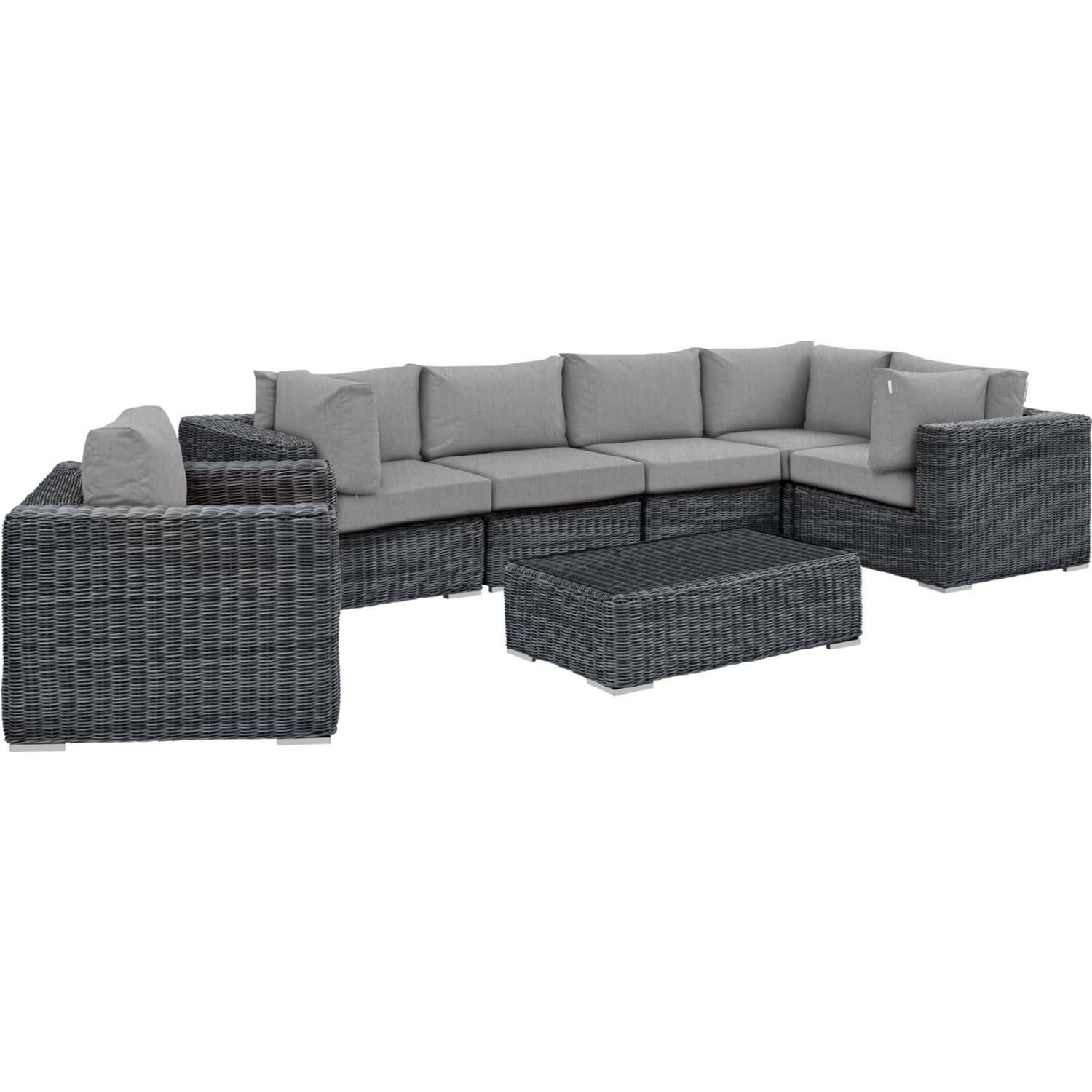 Summon 7 Piece Outdoor Sectional Sofa Set in PE Rattan & Gray Sunbrella® by  Modway