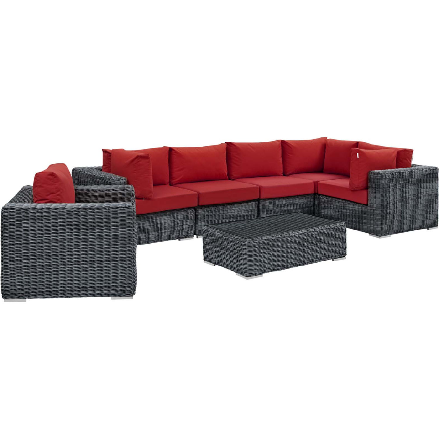Super Summon 7 Piece Outdoor Sectional Sofa Set In Pe Rattan Red Sunbrella By Modway Cjindustries Chair Design For Home Cjindustriesco