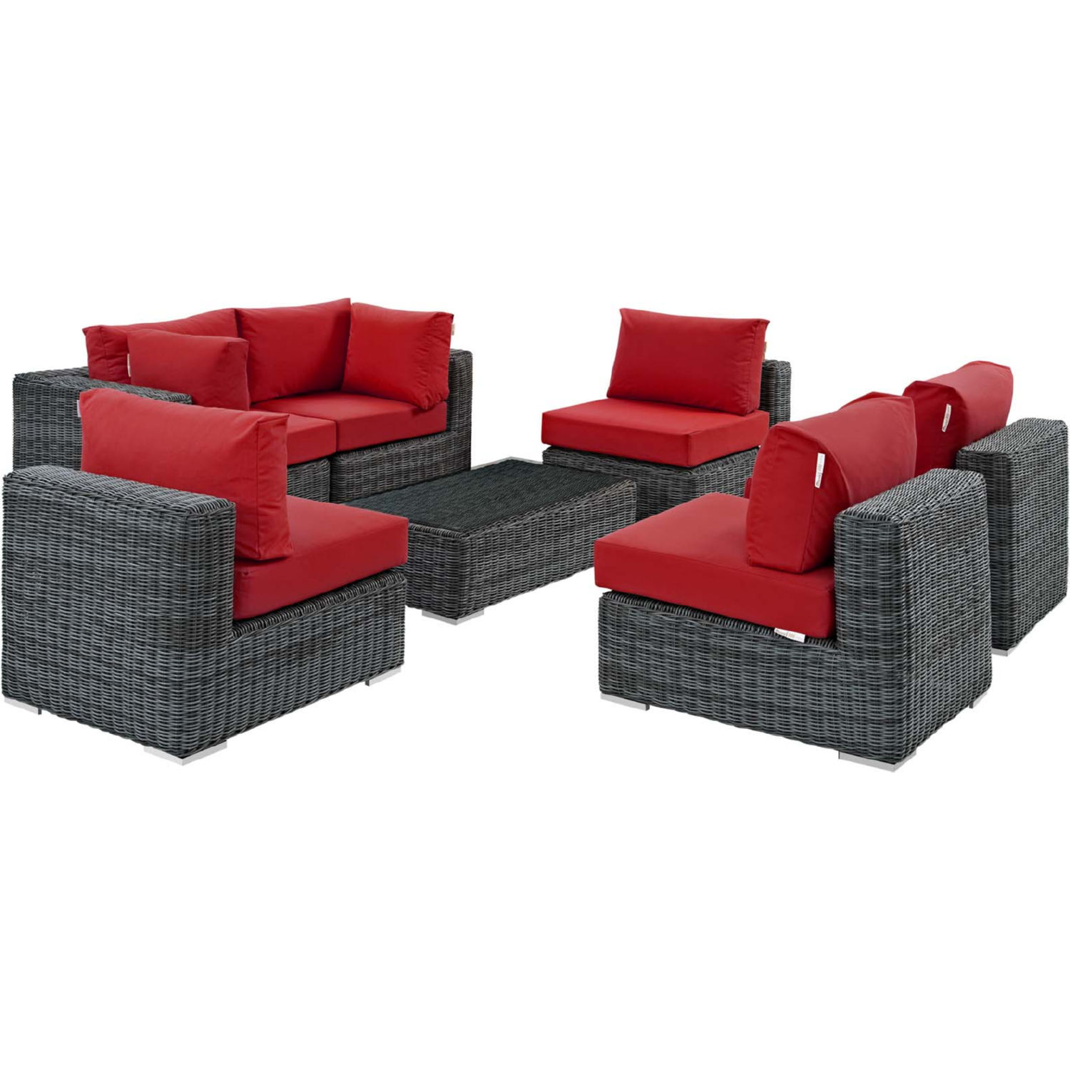 Fantastic Summon 7 Piece Outdoor Sectional Sofa Set In Pe Rattan Red Sunbrella By Modway Cjindustries Chair Design For Home Cjindustriesco