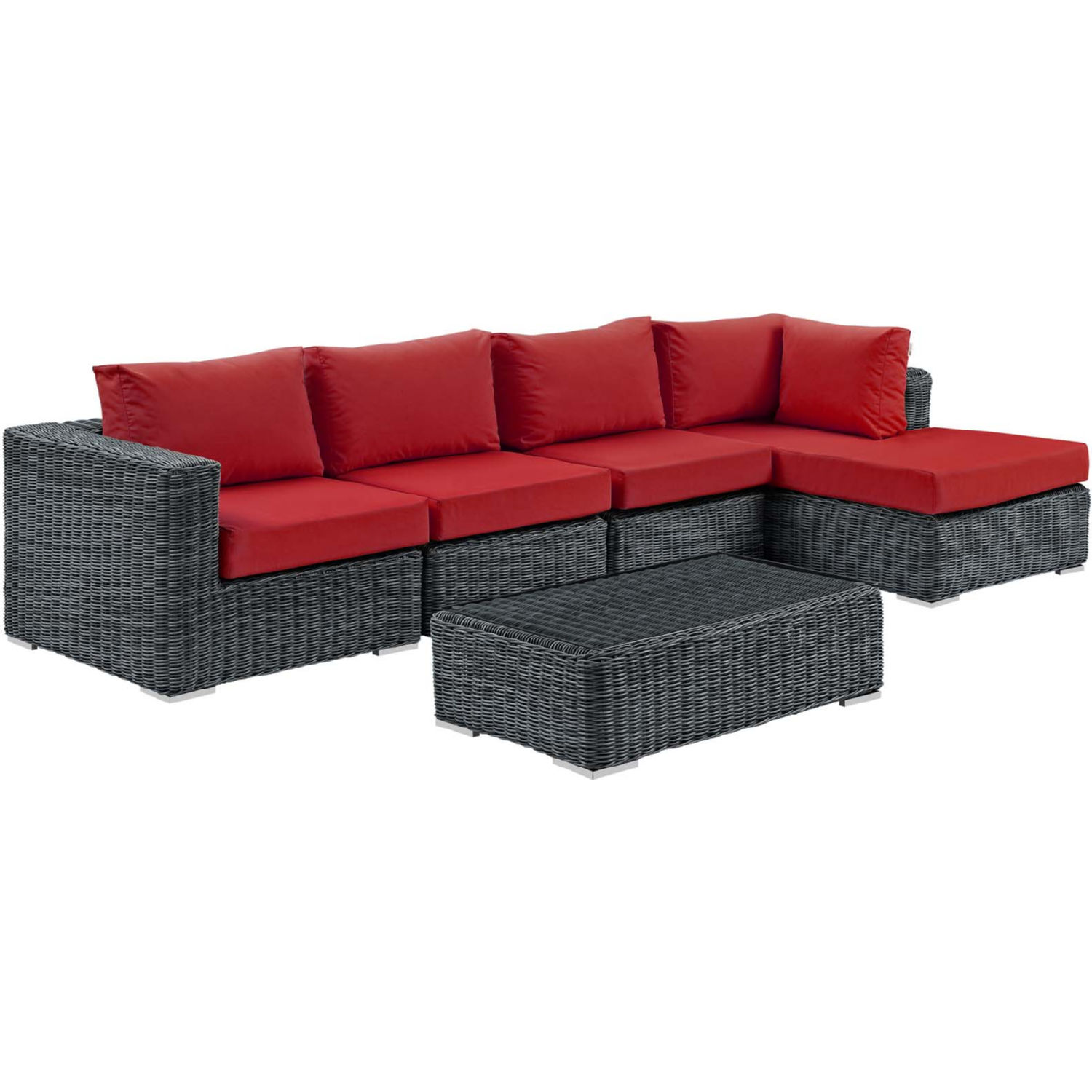 Summon 5 Piece Outdoor Sectional Sofa Set in PE Rattan & Red Sunbrella® by  Modway