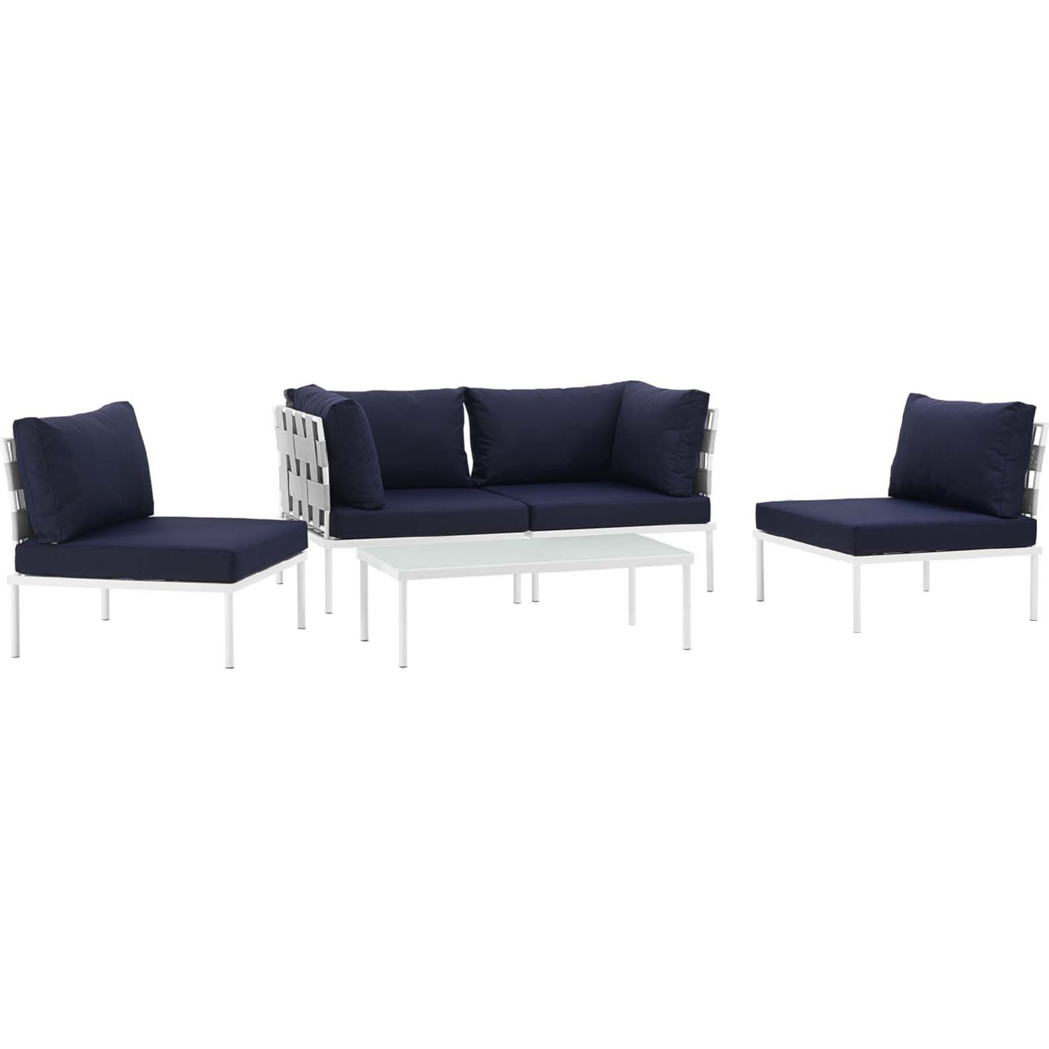 Harmony 5 Piece Outdoor Sectional Sofa Set in White w/ Navy Blue Fabric by  Modway