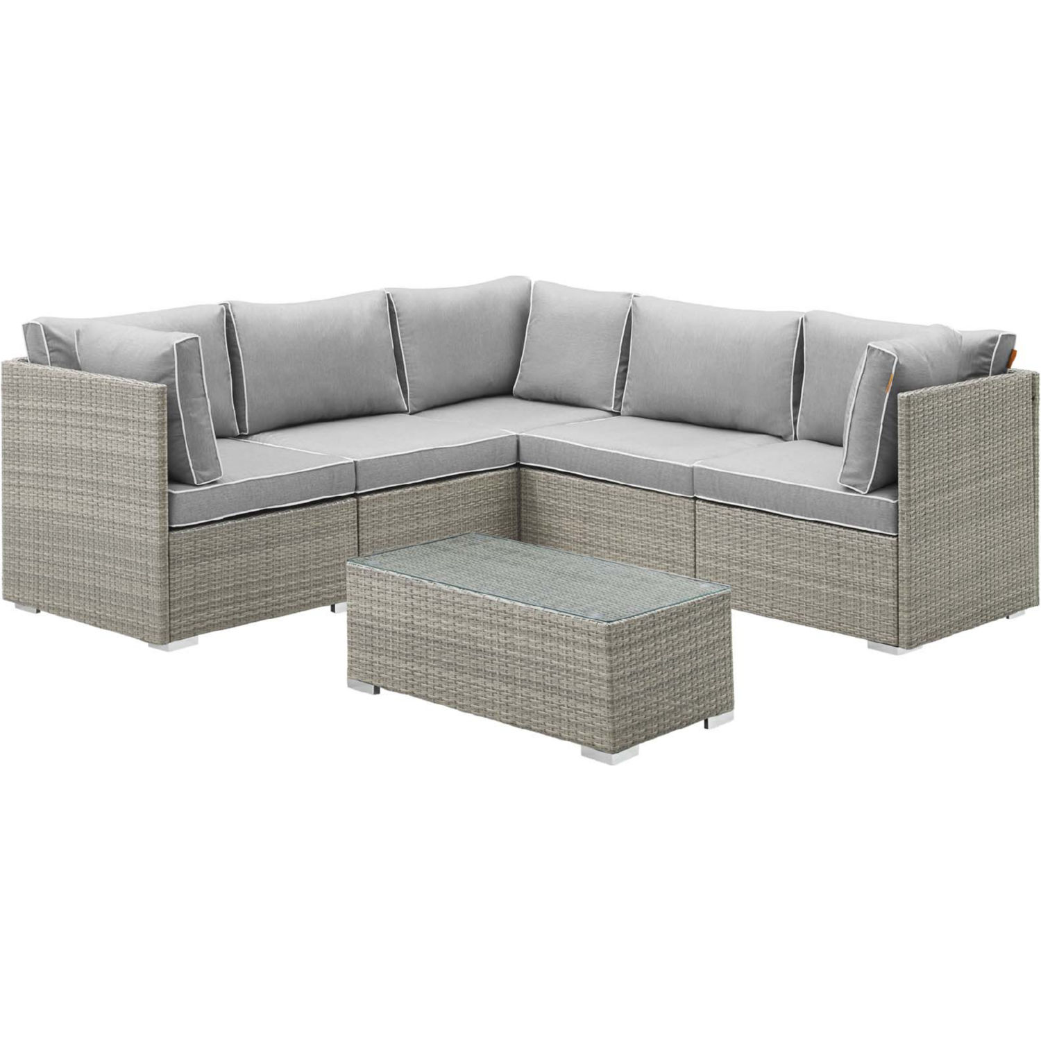 Repose 6 Piece Outdoor Sectional Sofa Set in Gray w/ Gray Fabric by Modway