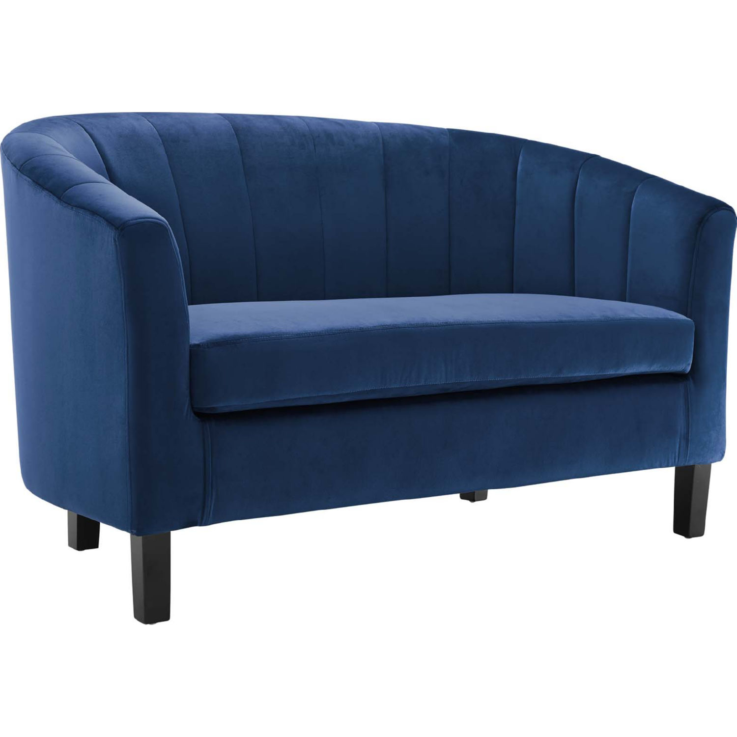 Magnificent Prospect Loveseat In Channel Tufted Navy Blue Velvet By Modway Squirreltailoven Fun Painted Chair Ideas Images Squirreltailovenorg