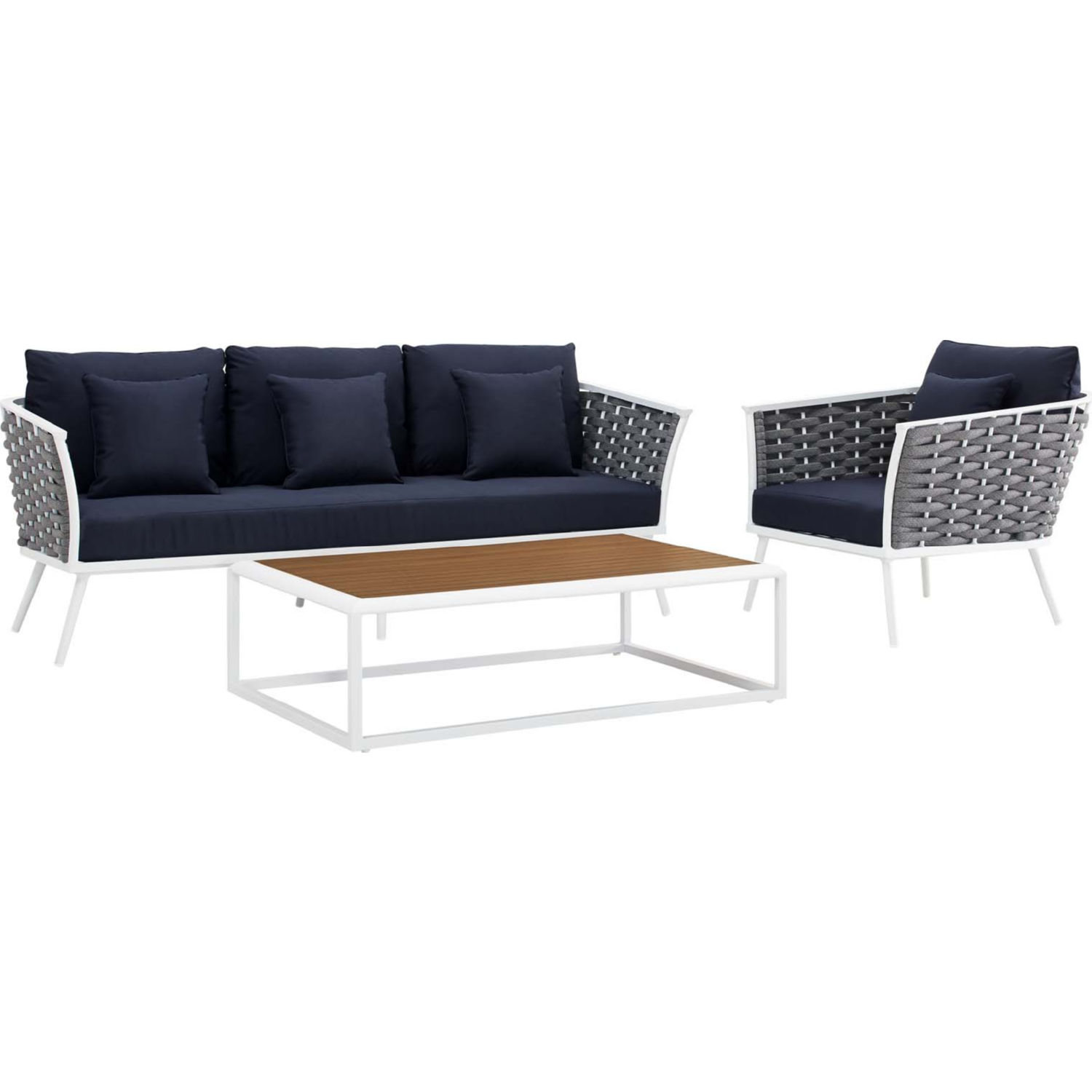 Stance 3 Piece Outdoor Sofa Set in White w/ Navy Blue Fabric by Modway
