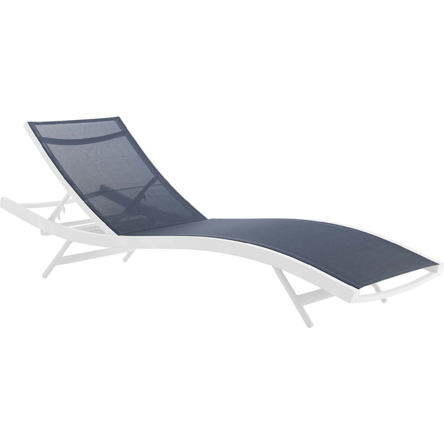 Glimpse Outdoor Patio Chaise Lounge Chair In Navy Mesh By Modway