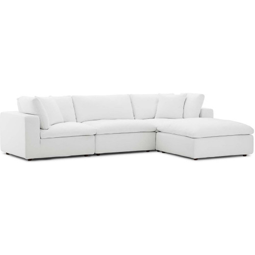 Strange Commix Down Overstuffed 4 Piece Modular Sectional Sofa In White Fabric By Modway Ibusinesslaw Wood Chair Design Ideas Ibusinesslaworg