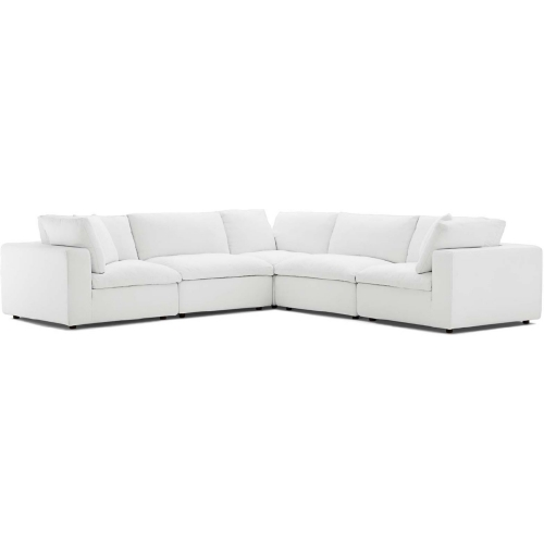 Commix Down Overstuffed 5 Piece Modular Sectional Sofa in White Fabric by  Modway