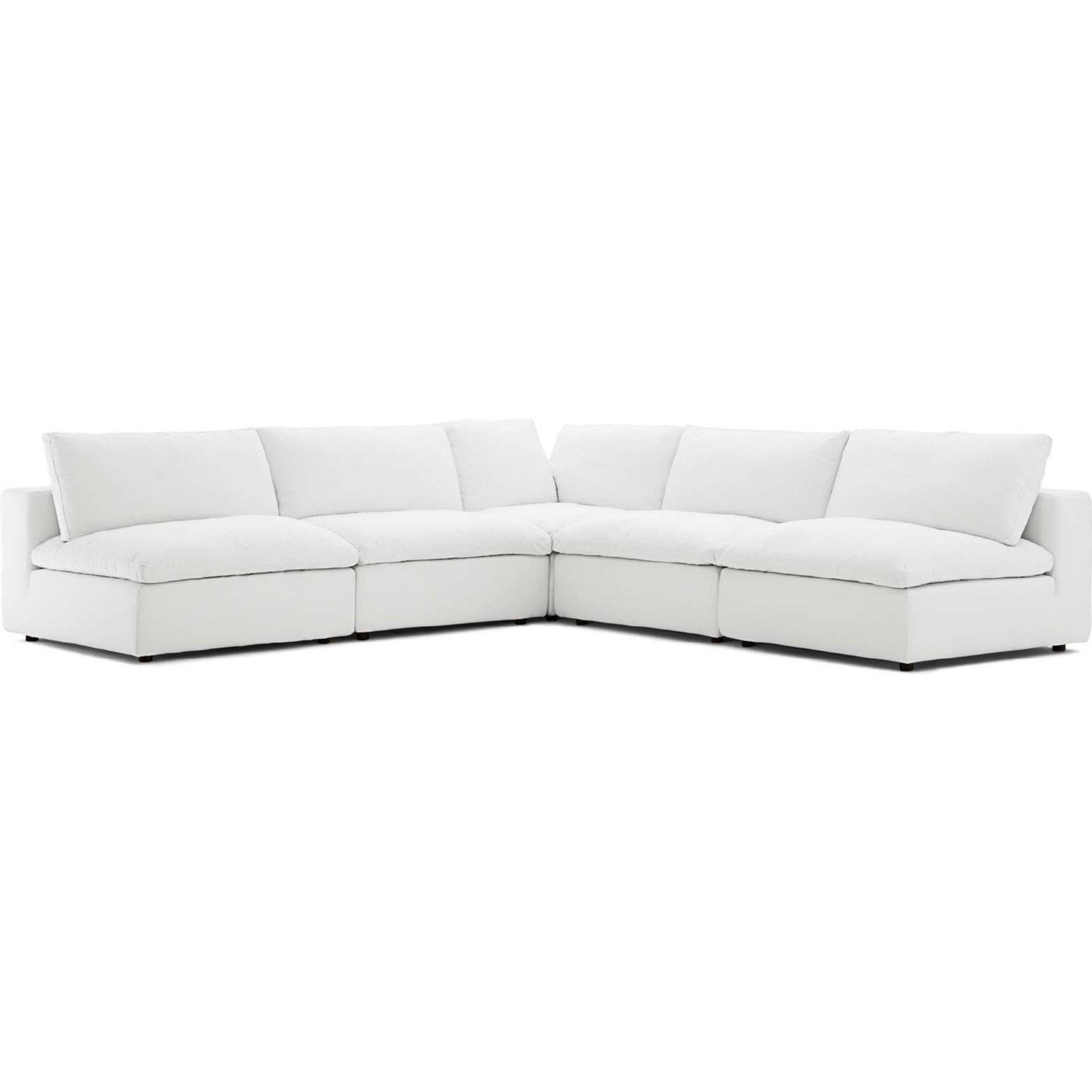 Pleasant Commix Down Overstuffed 5 Piece Modular Sectional Sofa In White Fabric By Modway Ibusinesslaw Wood Chair Design Ideas Ibusinesslaworg