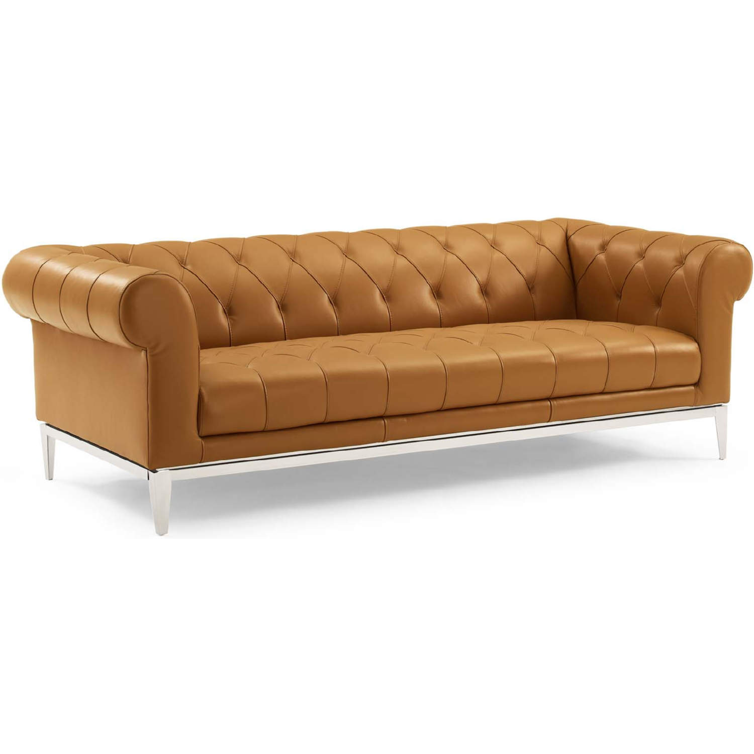 Idyll Chesterfield Sofa In Tufted Tan Leather Stainless By Modway