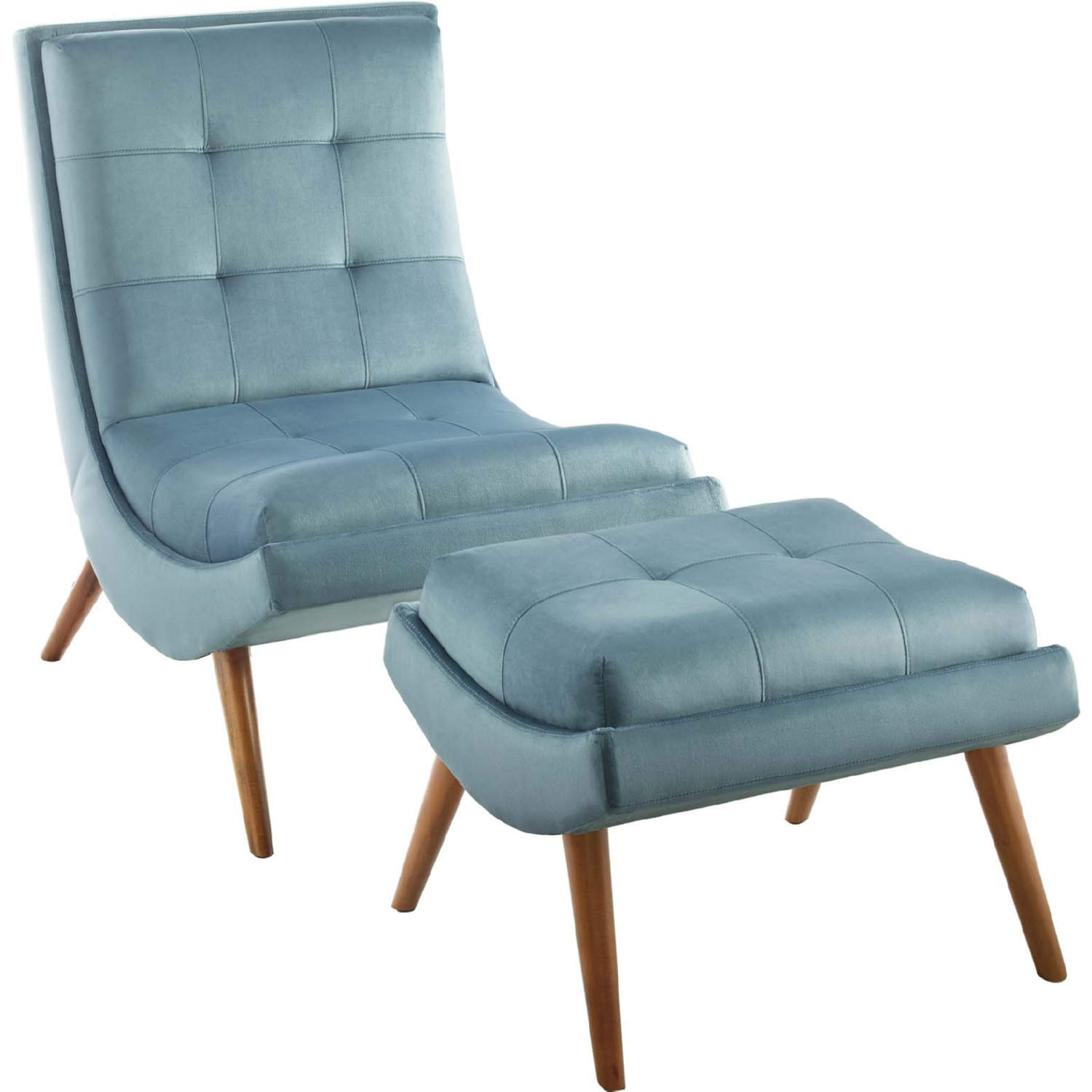 Ramp Armless Lounge Chair Ottoman In Tufted Light Blue Velvet By Modway