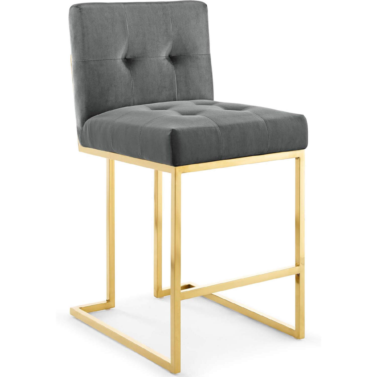 Brilliant Privy Counter Stool In Tufted Charcoal Gray Velvet Gold Stainless By Modway Gmtry Best Dining Table And Chair Ideas Images Gmtryco