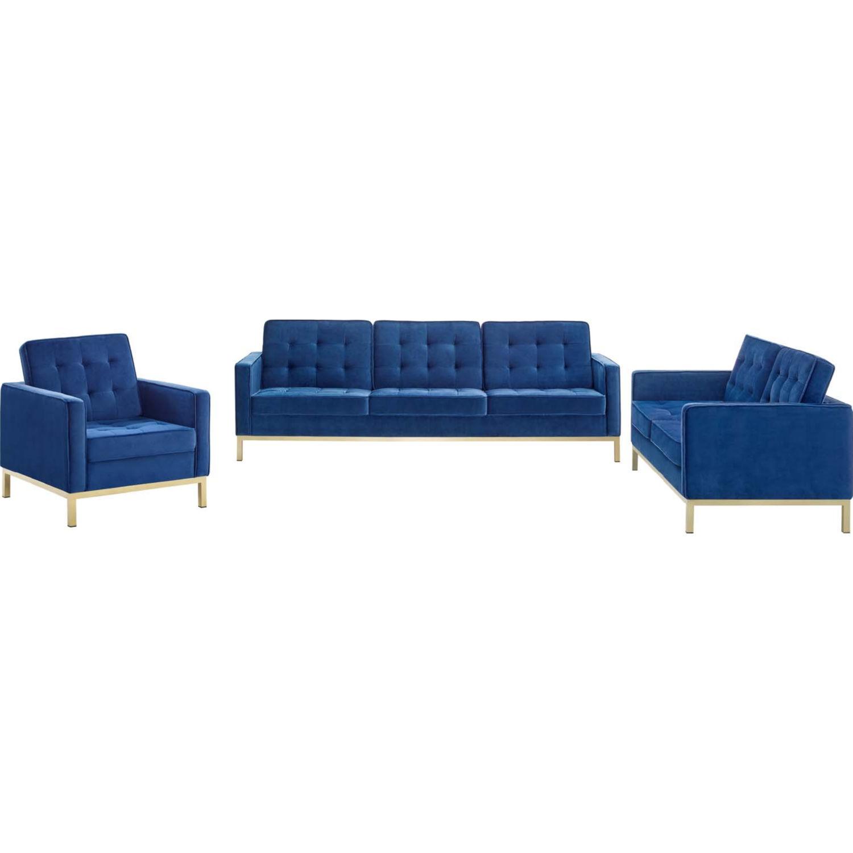 Picture of: Modway Eei 4100 Gld Nav Set Loft 3 Piece Sofa Set In Tufted Navy Blue Velvet Gold Stainless