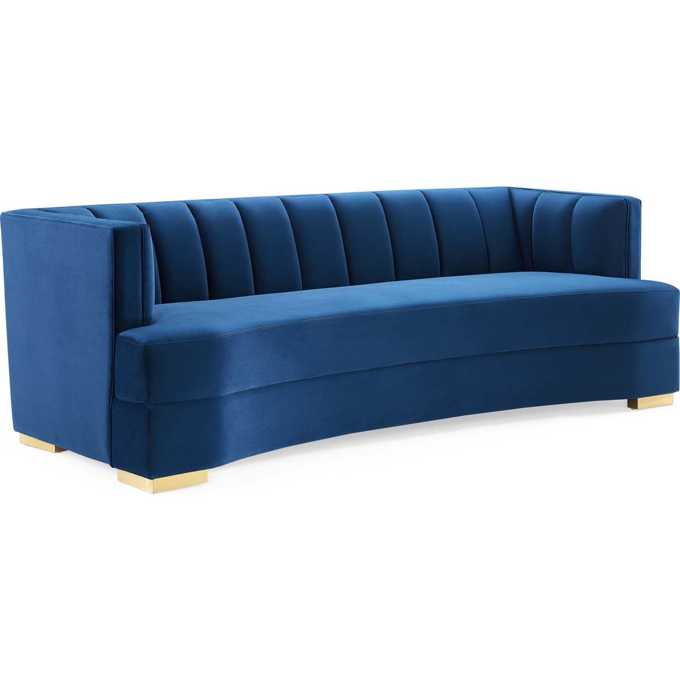 Picture of: Modway Eei 4134 Nav Encompass Curved Sofa In Channel Tufted Navy Blue Velvet Gold