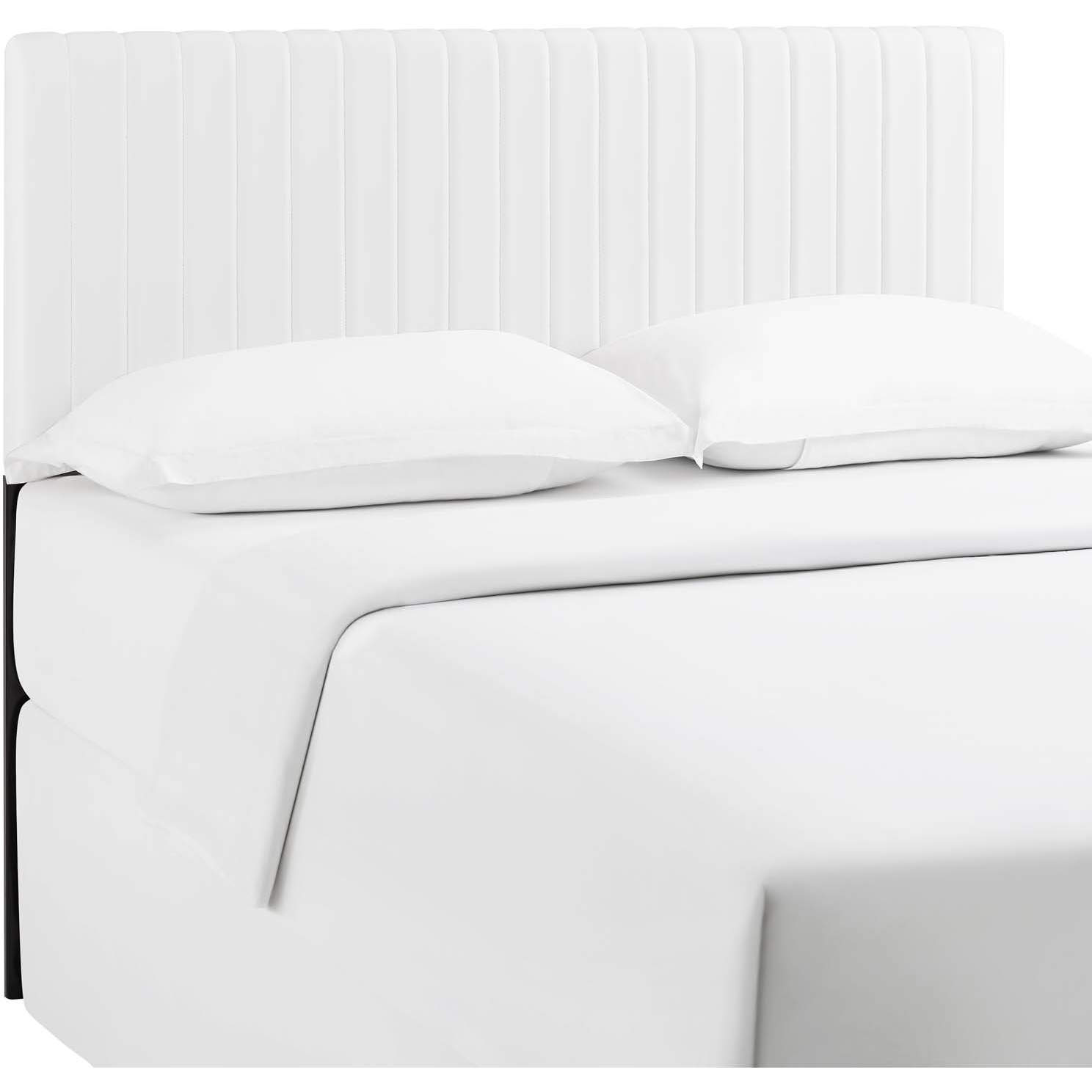 Modway Mod 6098 Whi Keira King Ca King Headboard In Channel Tufted White Leatherette