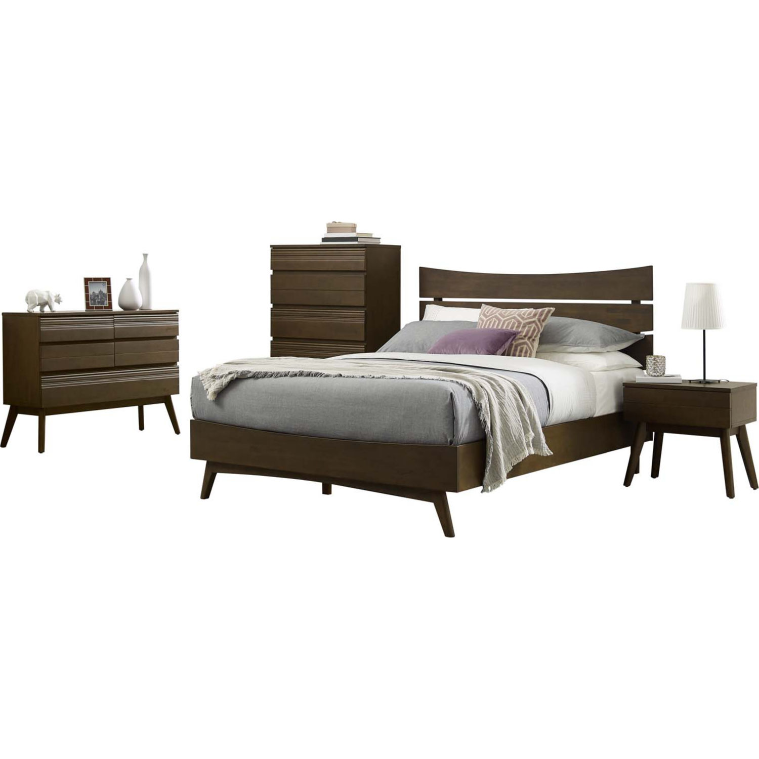 Everly 5 Piece Queen Bedroom Set in Walnut Finish by Modway