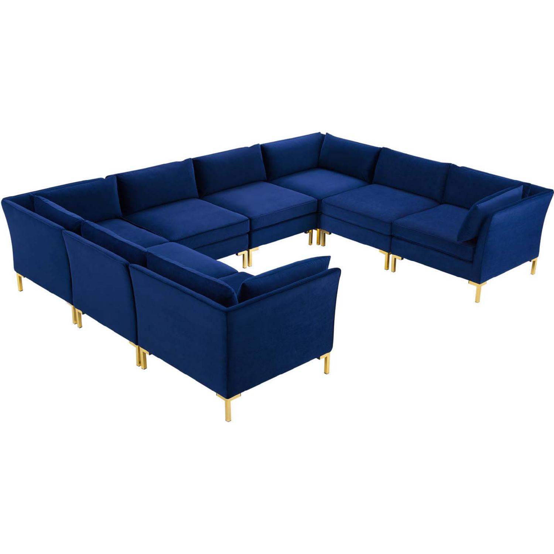 modway eei 4279 nav ardent 8 piece modular sectional sofa in navy blue velvet gold