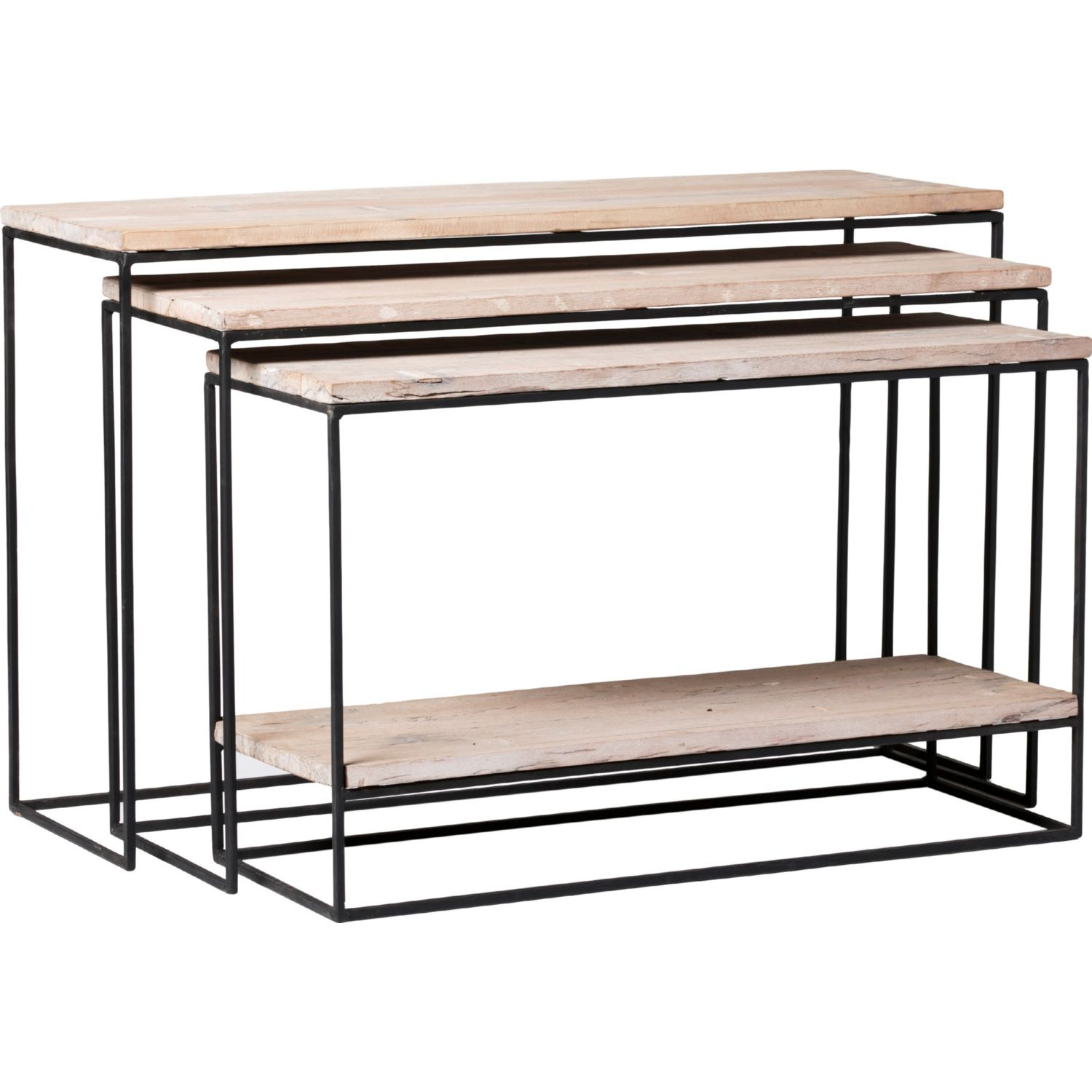 Moes home collection bx 1000 25 lowell nested console tables in lowell nested console tables in grey wash recycled wood on iron set of 3 geotapseo Choice Image