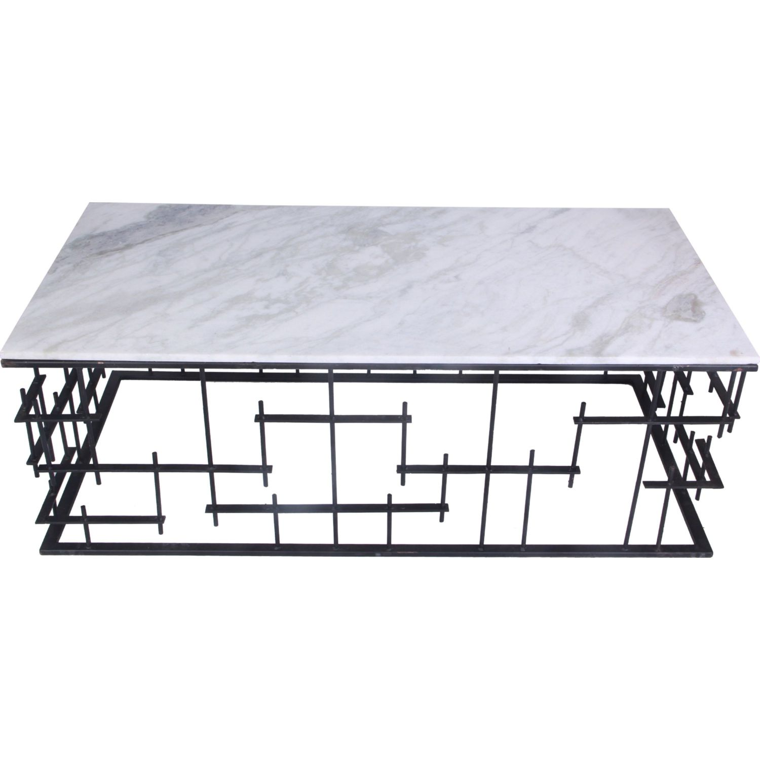 Matrix Coffee Table W/ Marble Top On Geometric Iron Base By Moeu0027s Home  Collection
