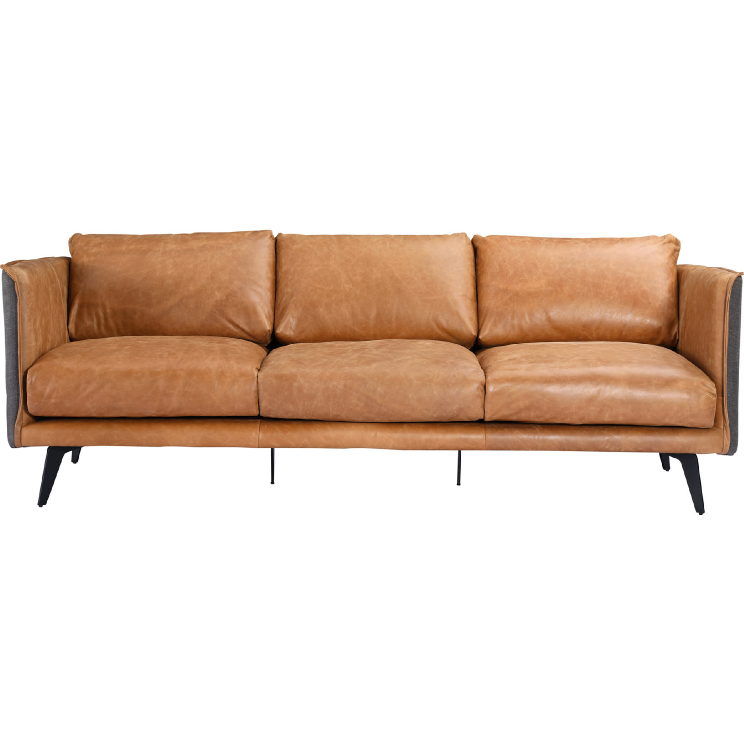 Messina Sofa in Cognac Leather w/ Fabric Back & Sides by Moe\'s Home  Collection
