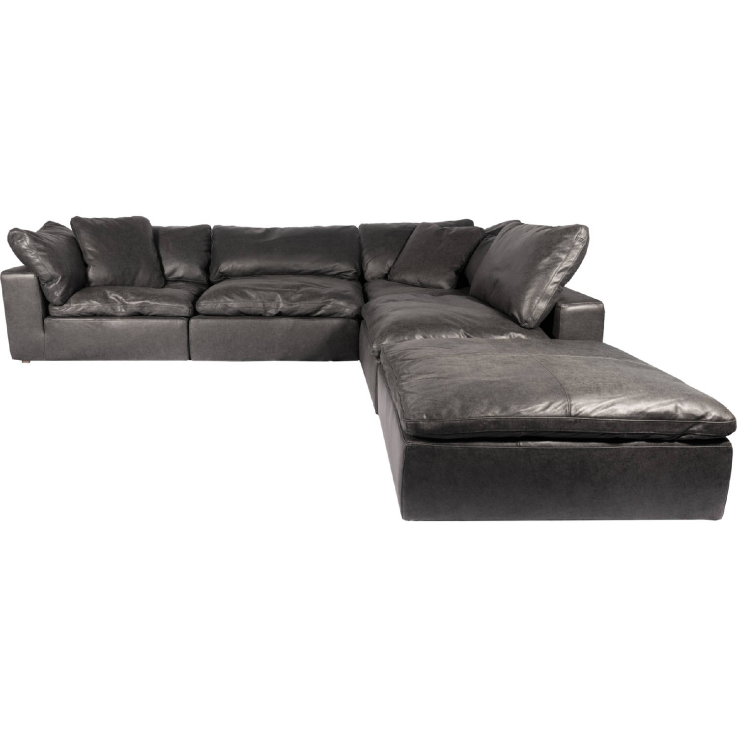 Clay Dream Modular Sectional Sofa in Black Top Grain Leather by Moe\'s Home  Collection