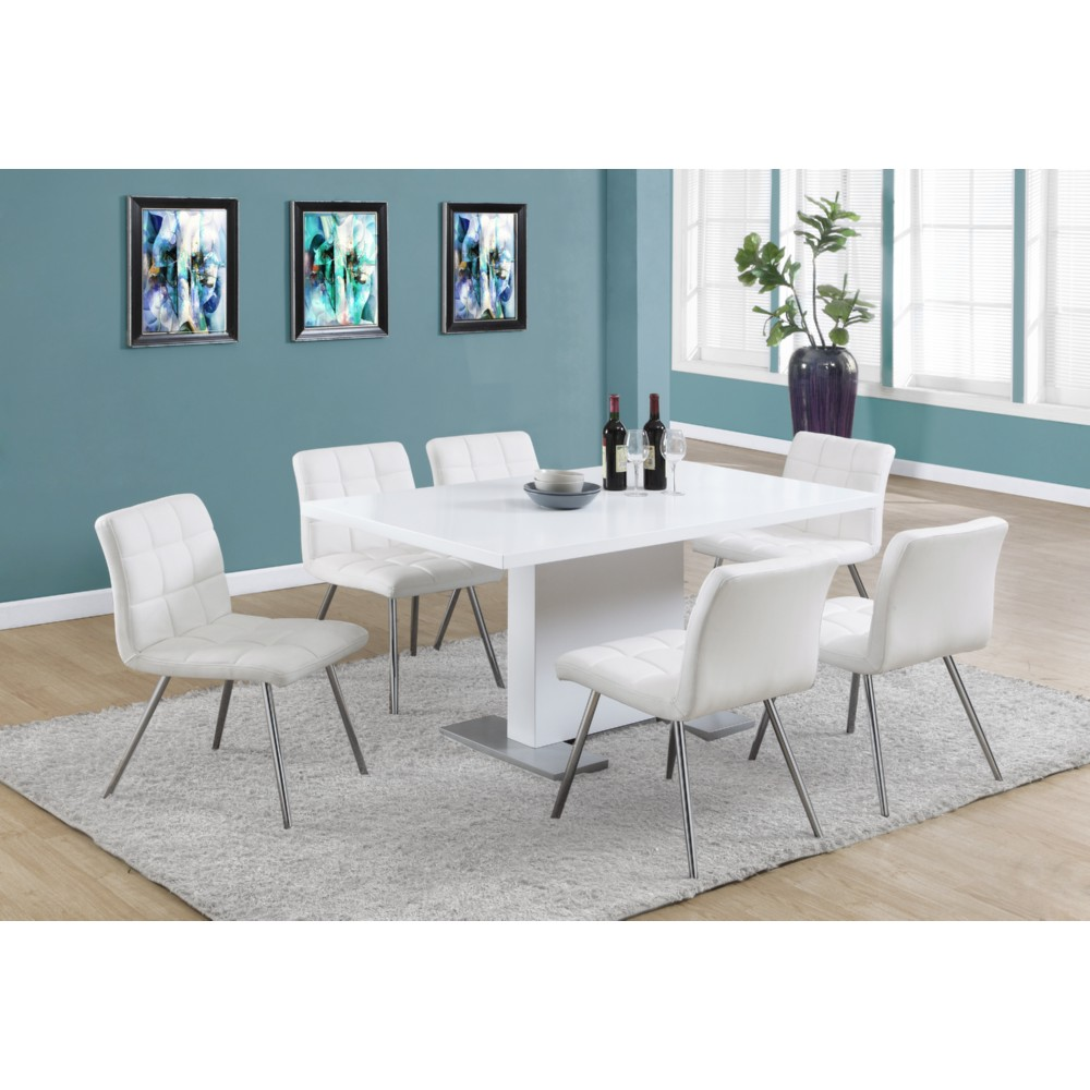 Monarch Specialties High Gloss White 60 Dining Table W Stainless Steel Feet